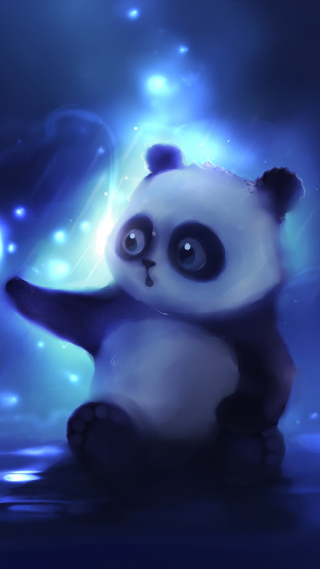 1080x1920 Preview wallpaper panda, art, apofiss, night