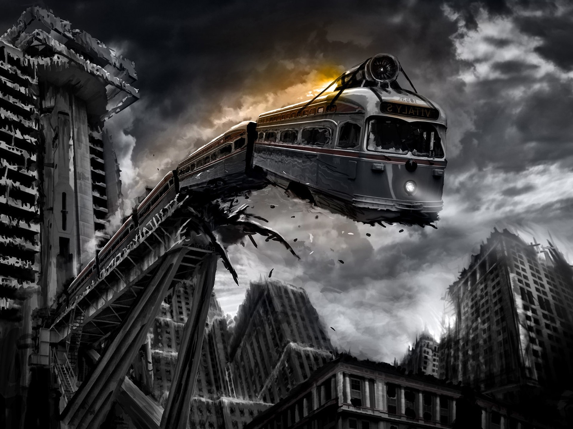 1920x1440 train, Monochrome, Apocalyptic, Digital Art, Romantically Apocalyptic  Wallpapers HD / Desktop and Mobile Backgrounds