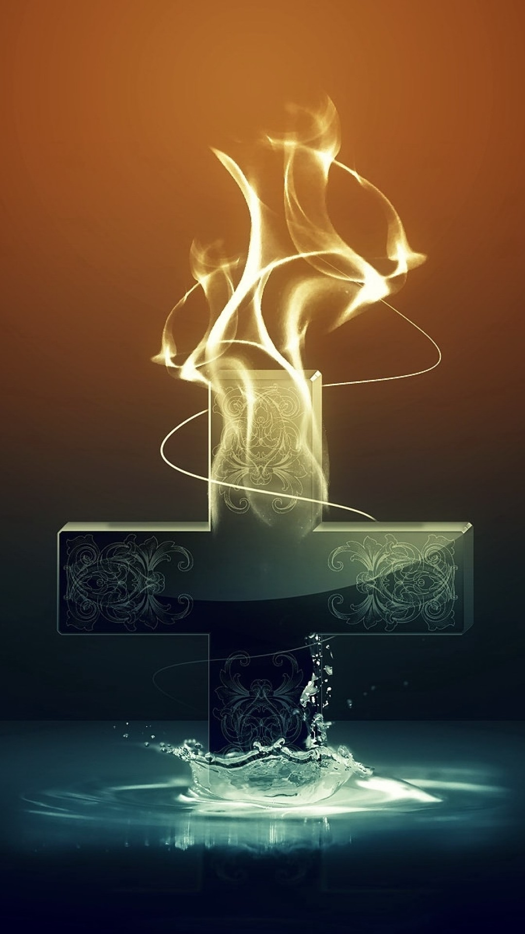 1080x1920 Preview wallpaper cross, abstraction, light, dark