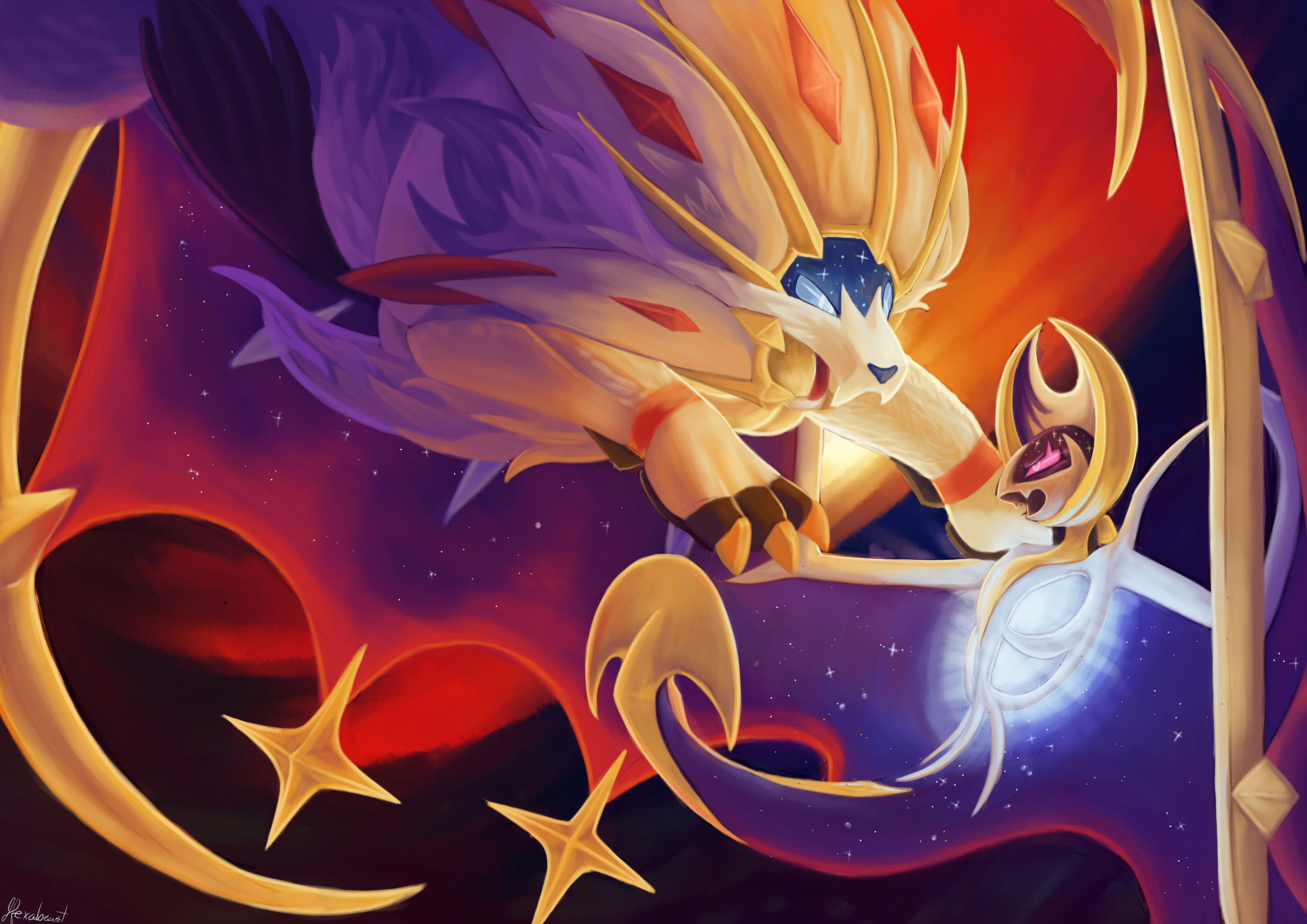 2338x1654 Computerspiele - Pokémon Sun and Moon Lunala (Pokémon) Pokémon Solgaleo  (Pokémon) Pokémon