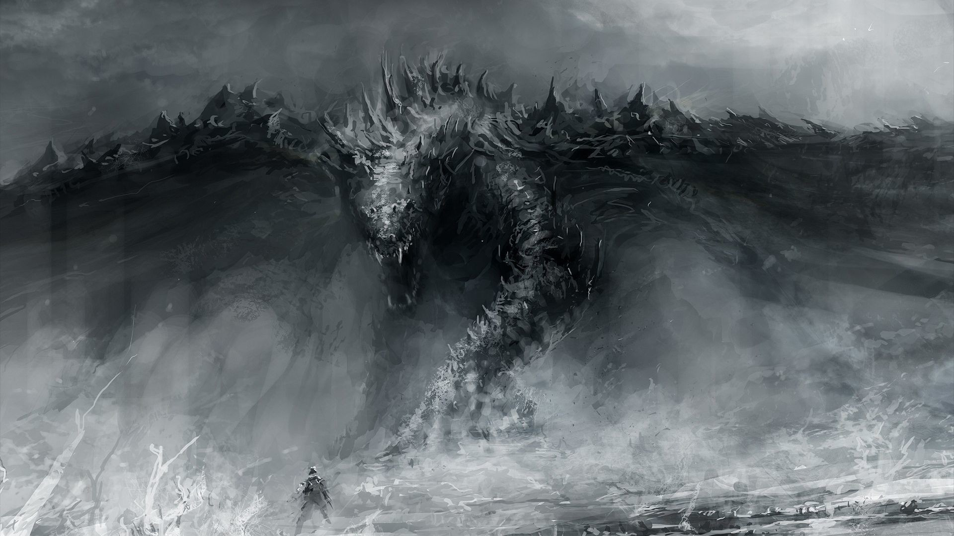 1920x1080 Grayscale Monsters Fantasy Art HD Wallpaper. « »