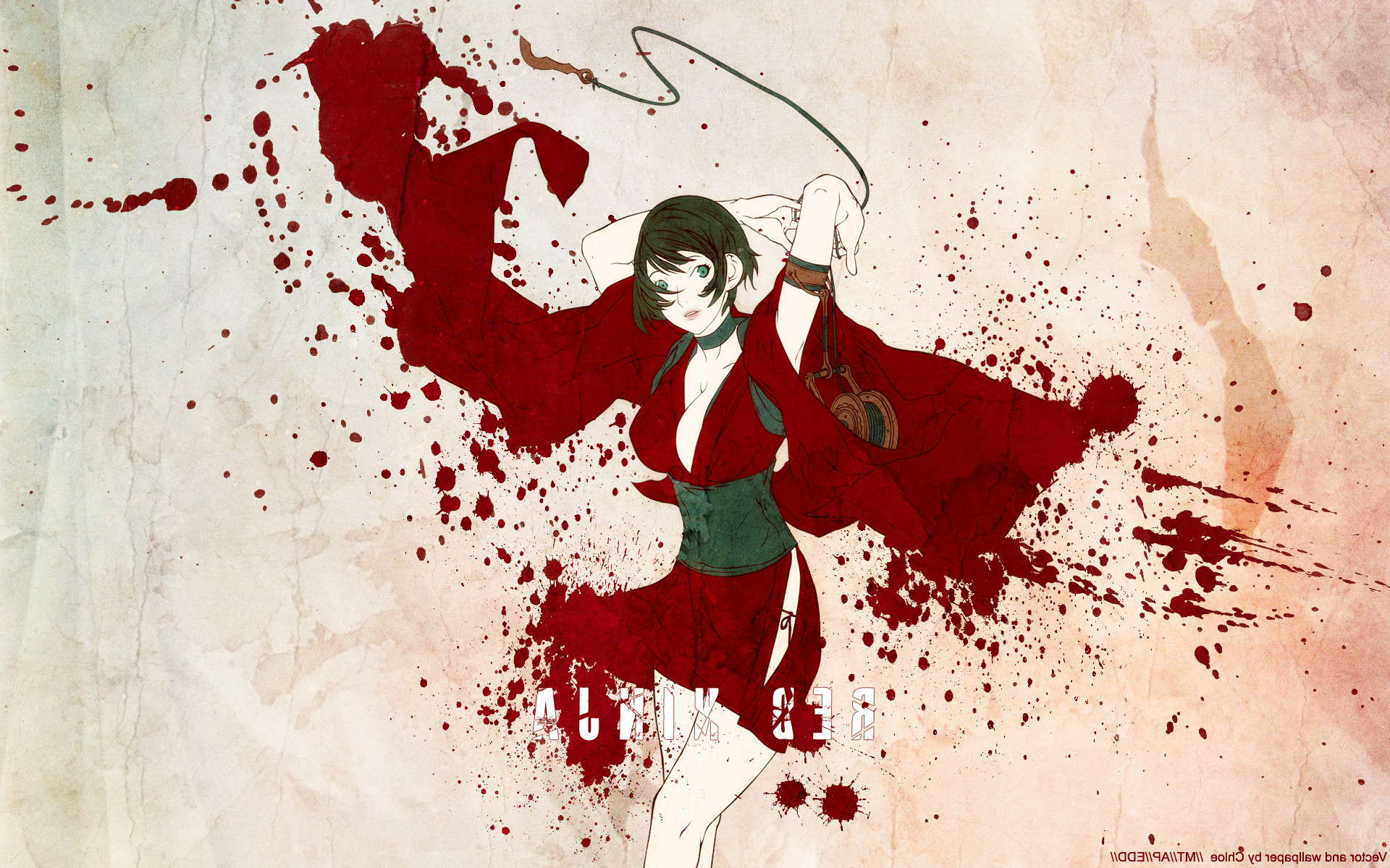 1920x1200 Red Ninja, Blood, Anime Girls Wallpapers HD / Desktop and Mobile Backgrounds