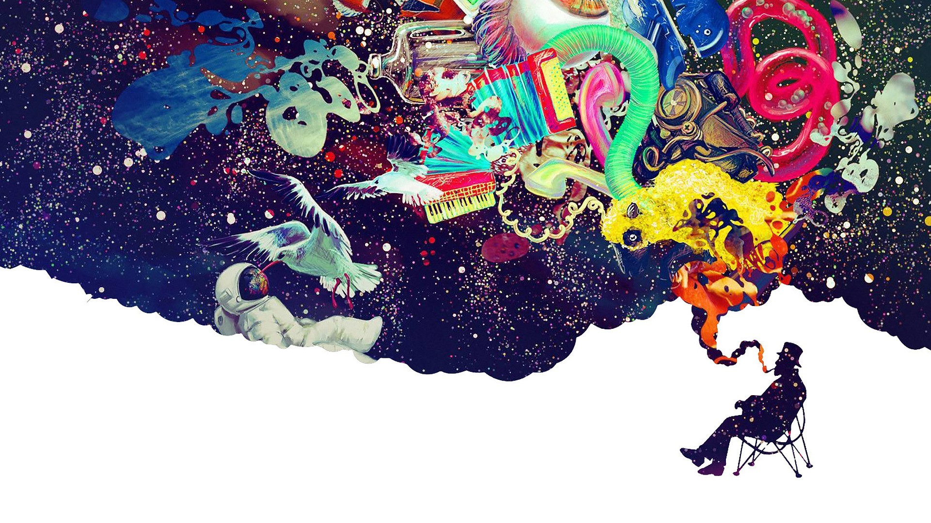 1920x1080 smoking smoke astronauts dreams colors upscaled - Wallpaper (#2890205) /  Wallbase.cc