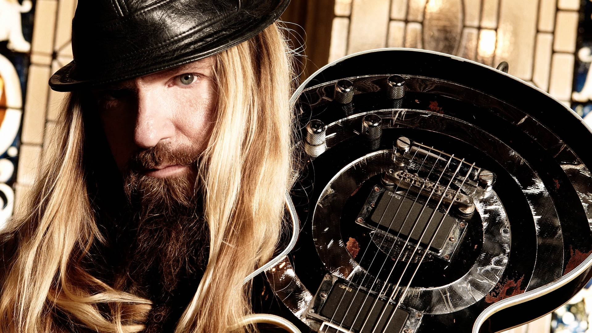1920x1080  Wallpaper zakk wylde, guitar, hat, hair, beard