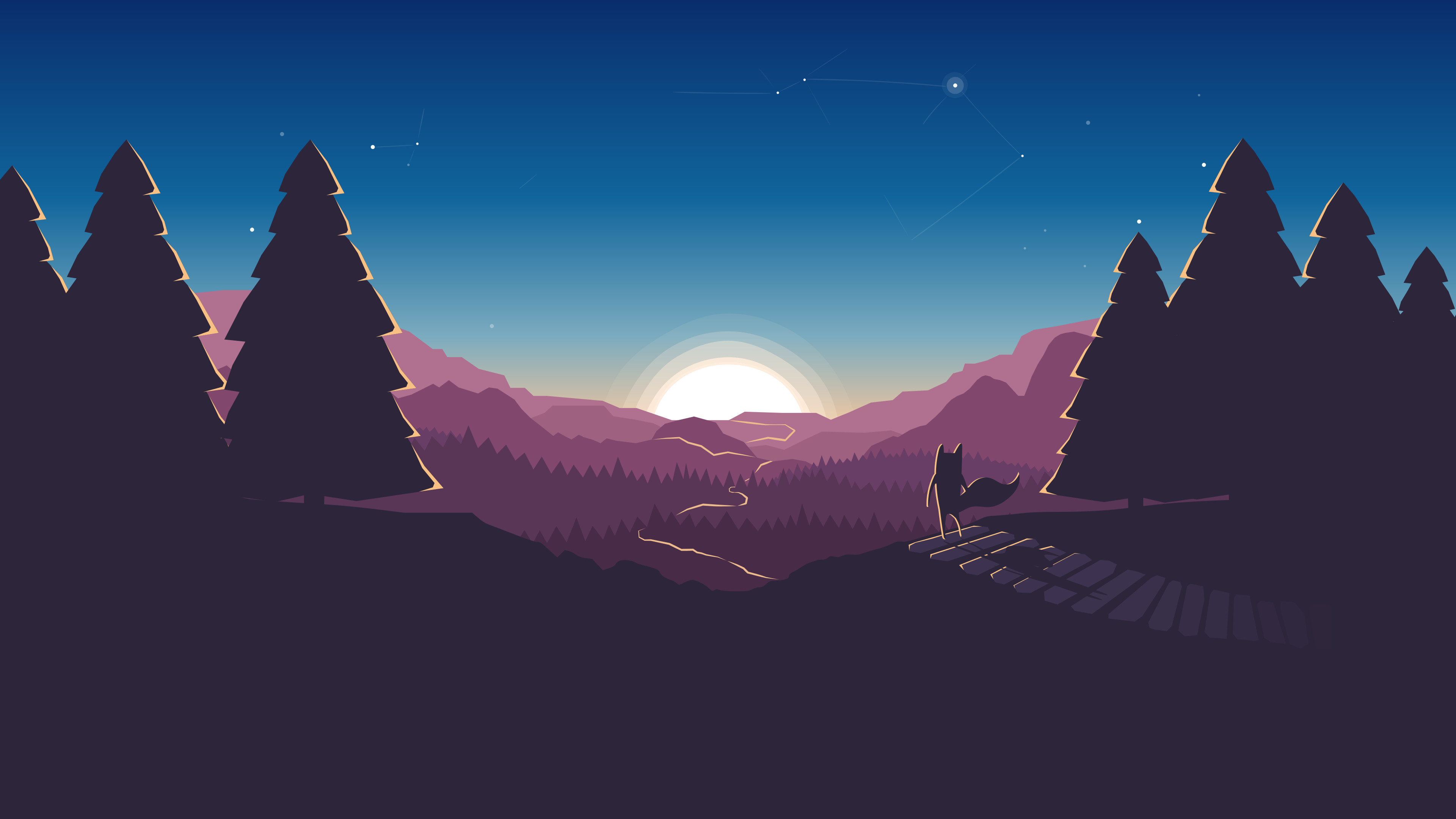 3840x2160 horizon, Minimalism, Illustration, Artwork, Digital art, Forest, Sunset, Mozilla  Firefox Wallpapers HD / Desktop and Mobile Backgrounds