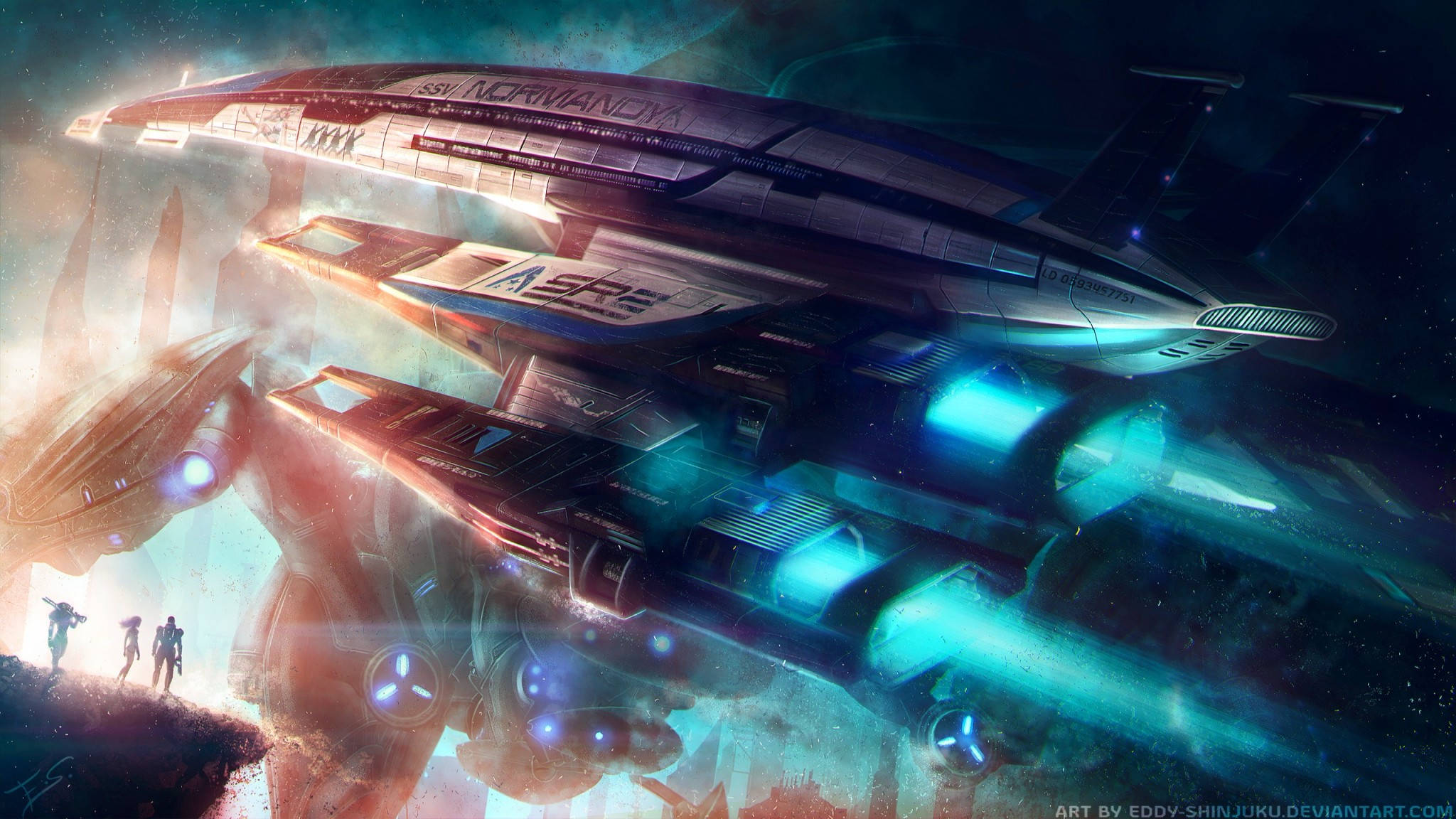 2048x1152 Preview wallpaper normandy, mass effect, spaceship
