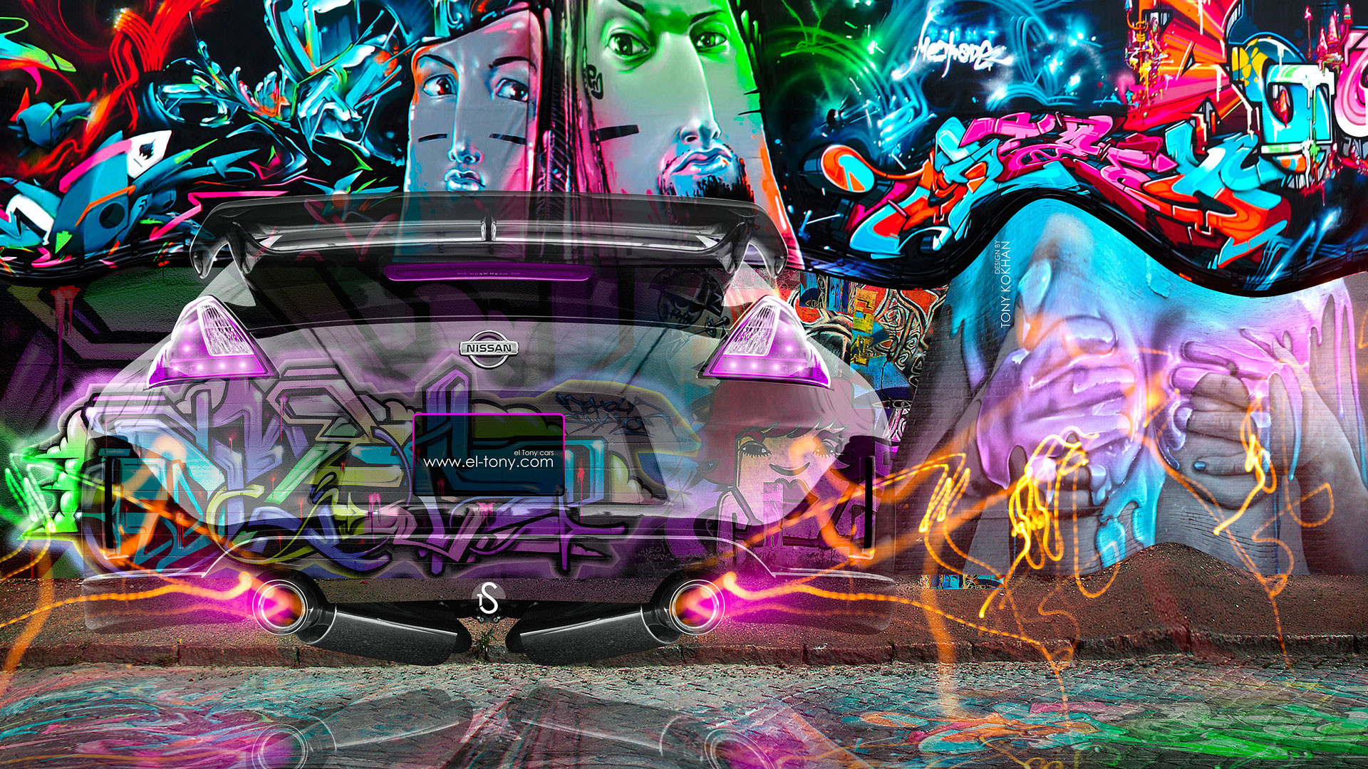 1920x1080 Nissan 370Z JDM City Fantasy Crystal Graffiti Fly Car 2014