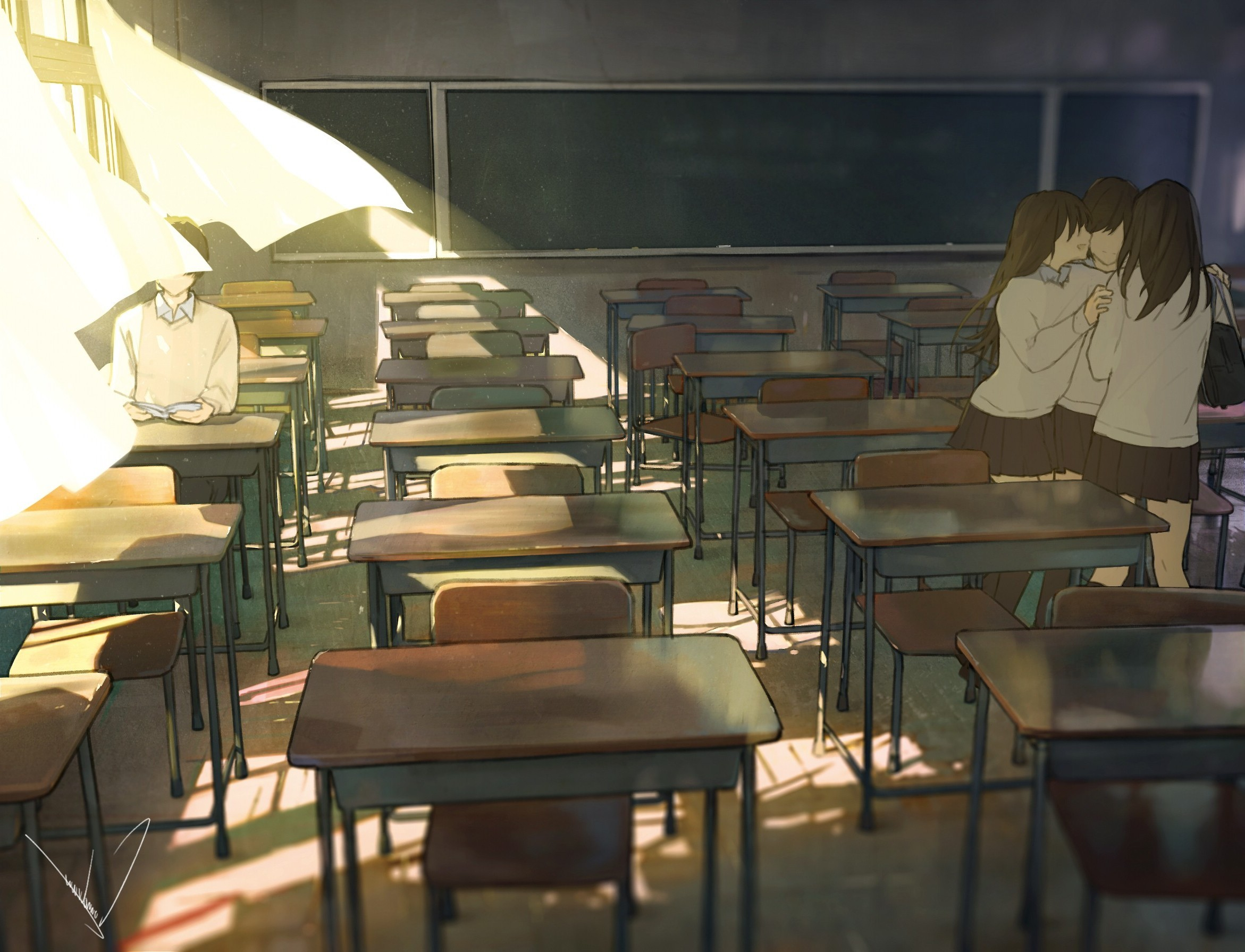 2342x1791 classroom, Anime, Original Characters, School Uniform Wallpapers HD /  Desktop and Mobile Backgrounds