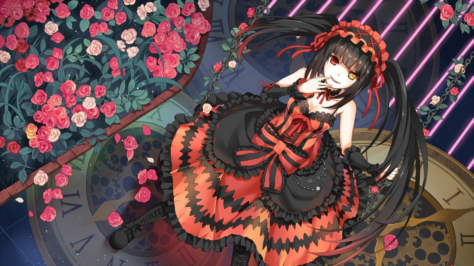 1920x1080 Preview wallpaper date a live, tokisaki kurumi, girl, anime, dress, flowers