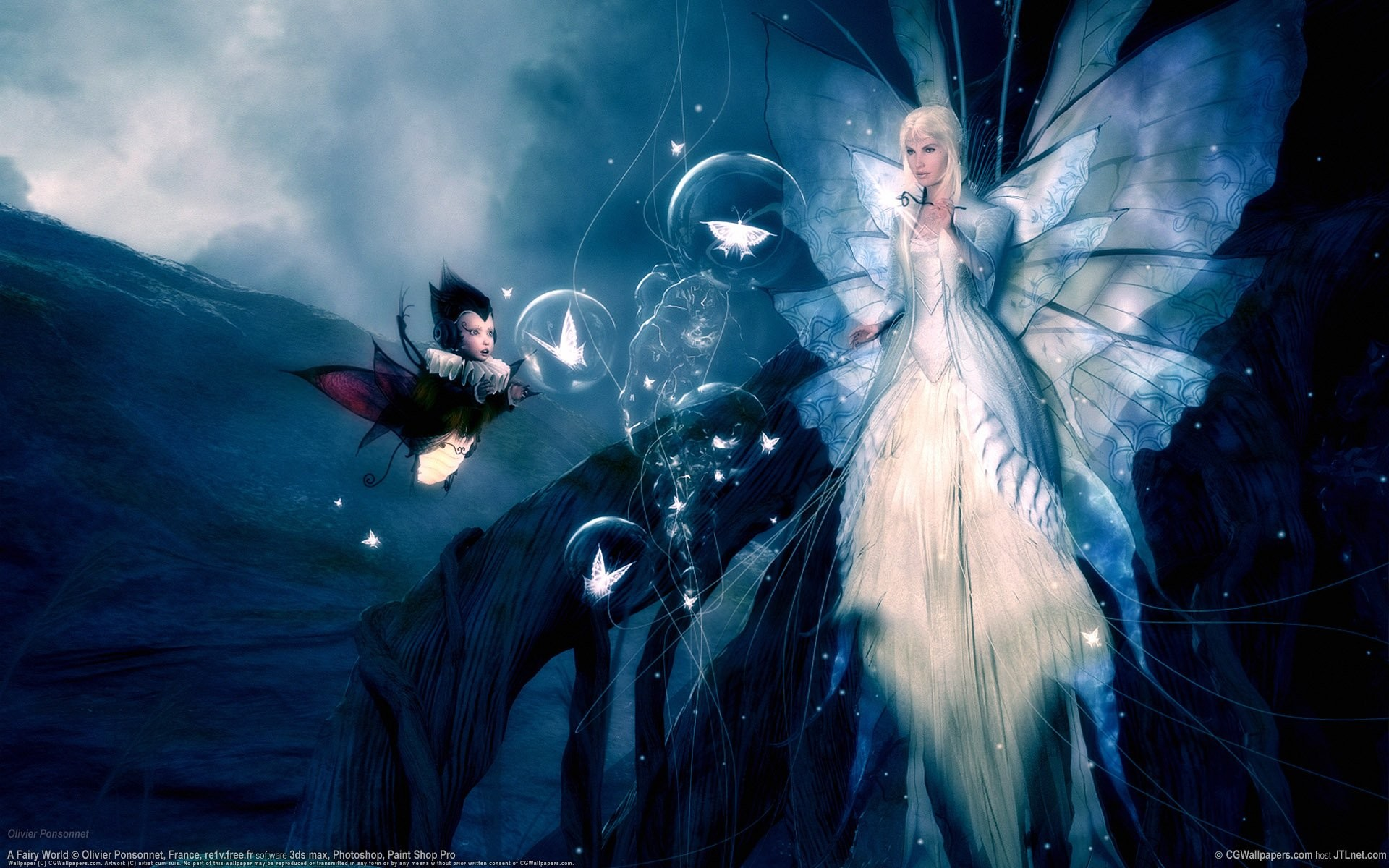 1920x1200 Image size: Album: Fairies Girls Images in Album: Category: Magical Pictures;  Angel And Fairy, Black Butterfly Girl, Blue Fairy Of Flower, Dance and  others.