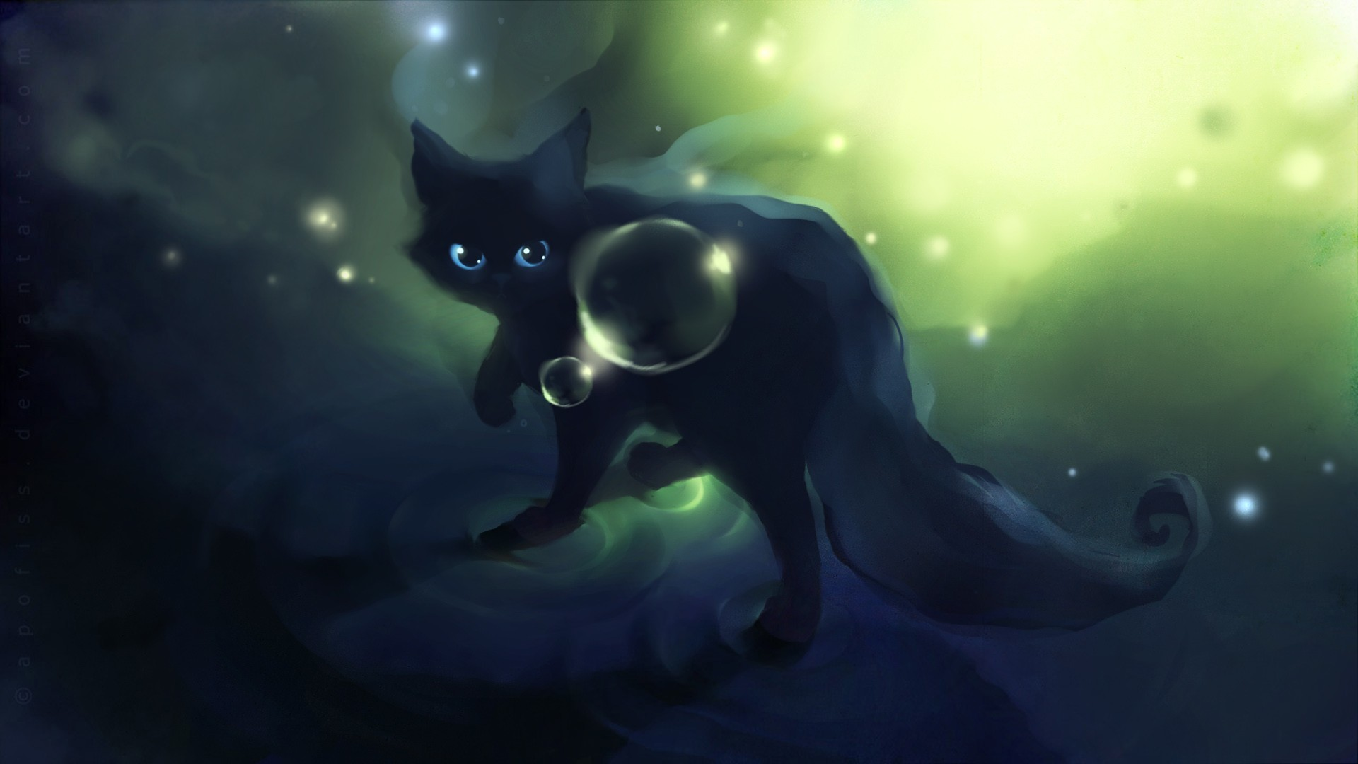 1920x1080 Animals Apofiss Artwork Black Cat Bubbles Cats DeviantART