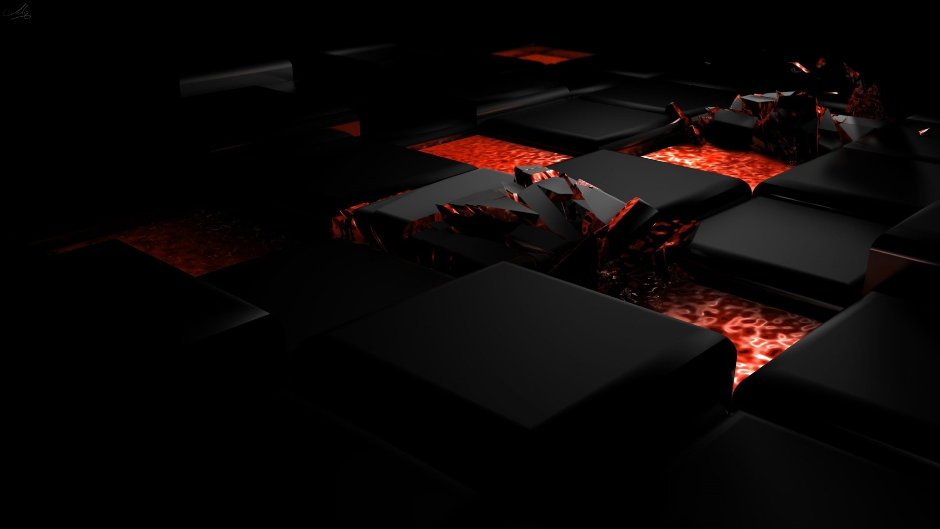 1920x1080 Preview wallpaper cube, fire, dark, light, alloy