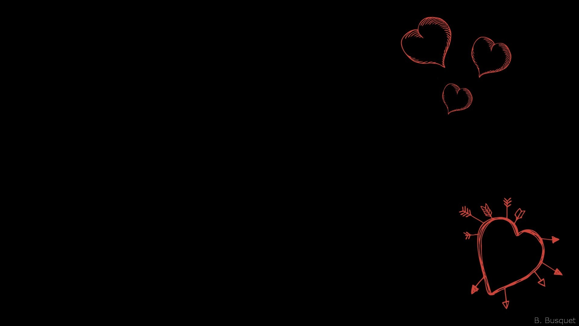 1920x1080 Black wallpaper with red hearts