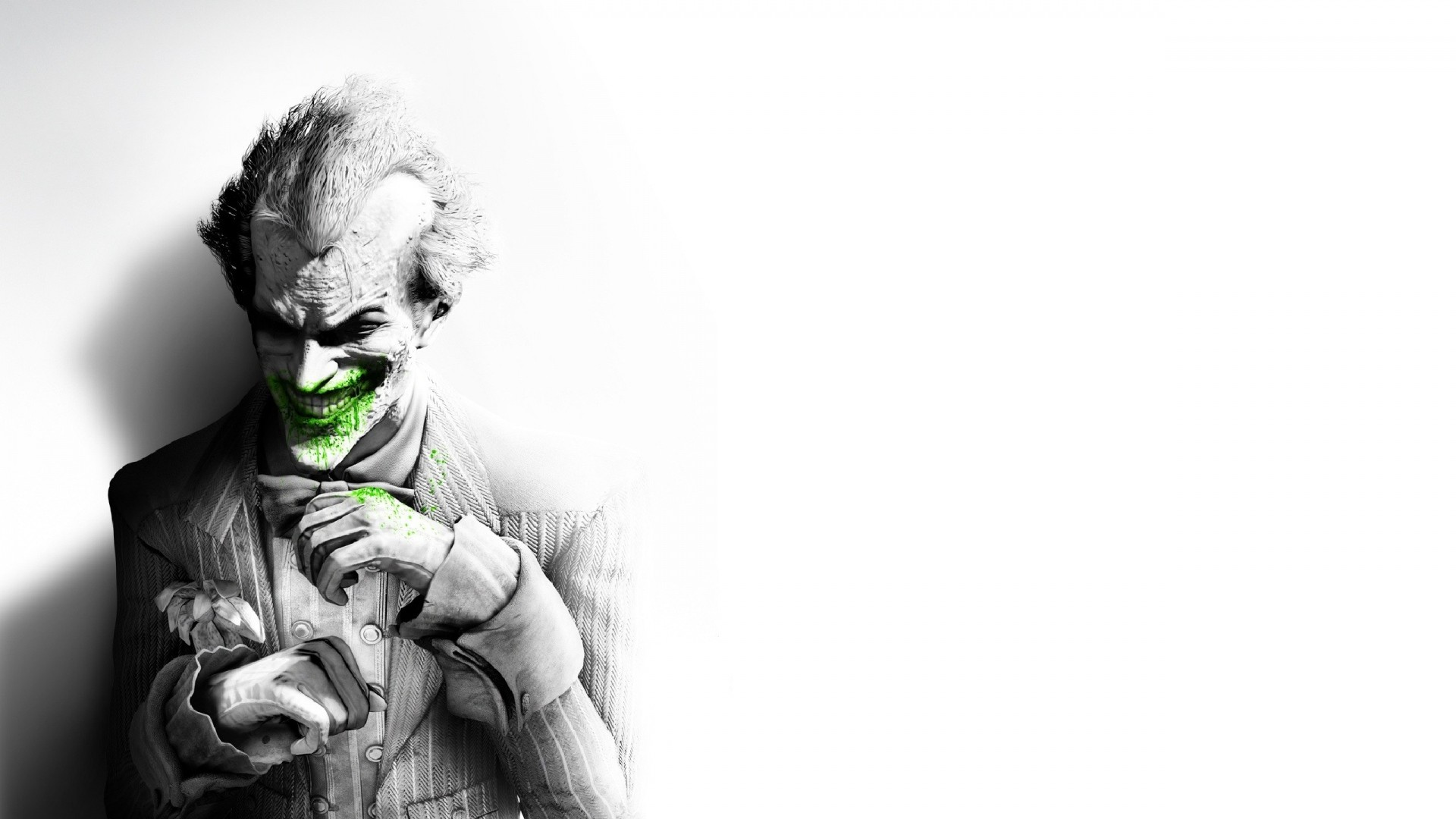 1920x1080 Preview wallpaper batman arkham city, joker, smile, suit, flower, fan art