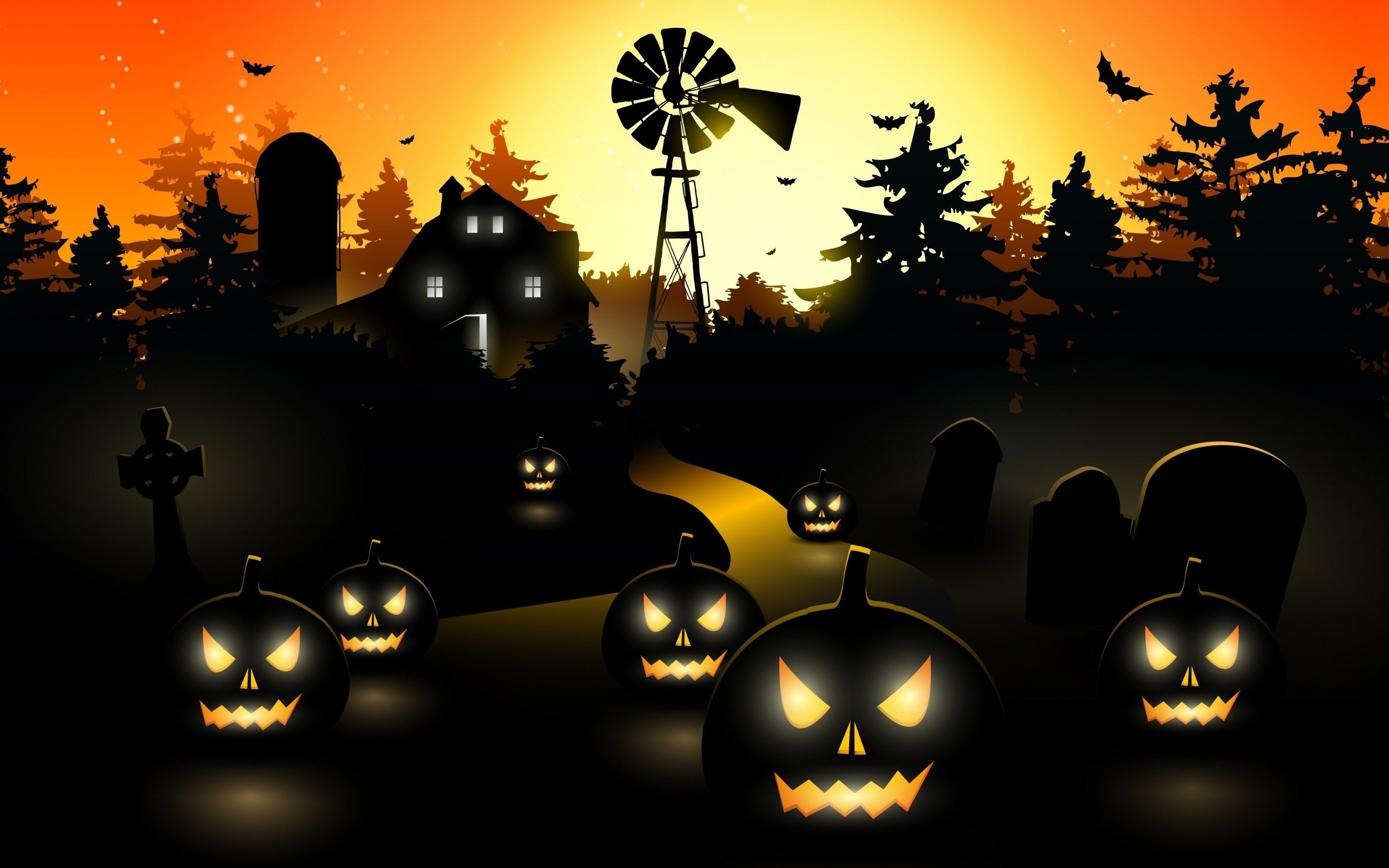 2880x1800 Pumpkin Halloween Desktop Wallpaper.