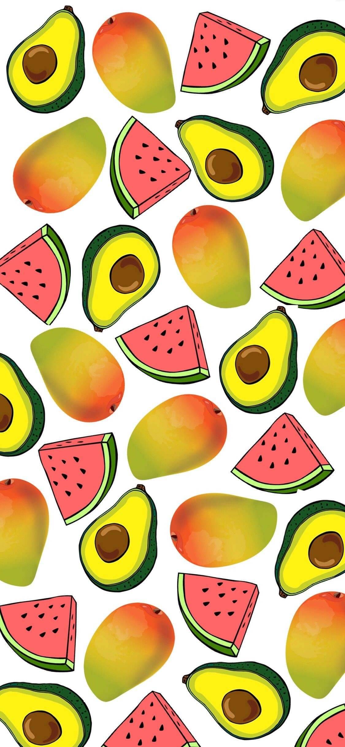 1125x2436 #watermellon #avocado #mango #iphone #wallpaper #background