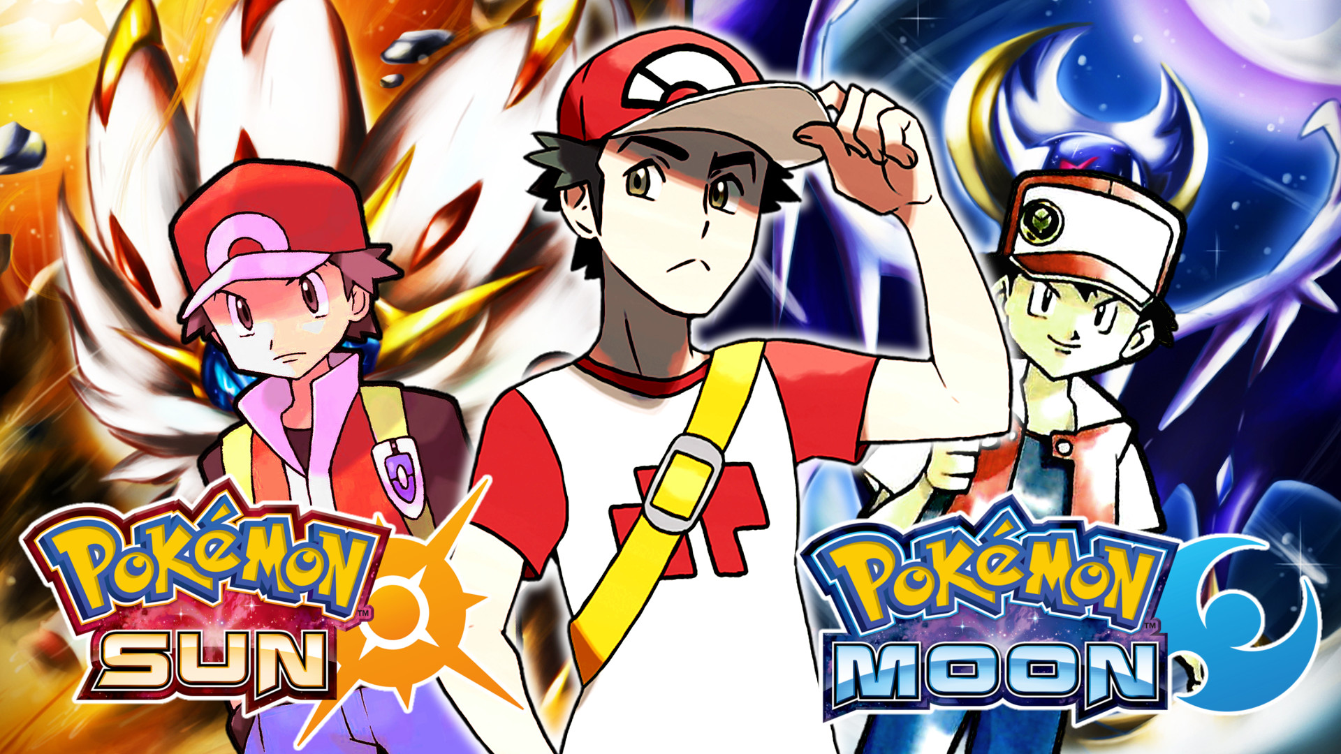 1920x1080 Red(Red AND Blue-Sun AND Moon) Wallpaper by MattPlaysVG