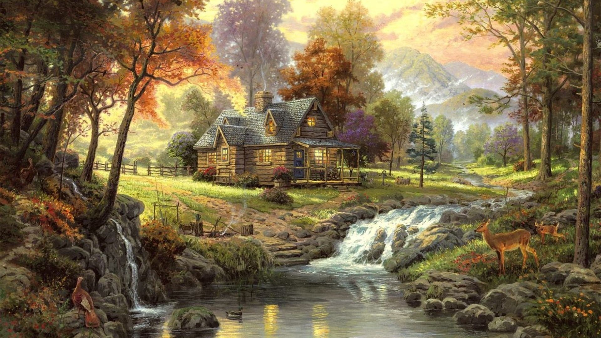 1920x1080  Wallpaper landscape, painting, art, house, forest, river, animals