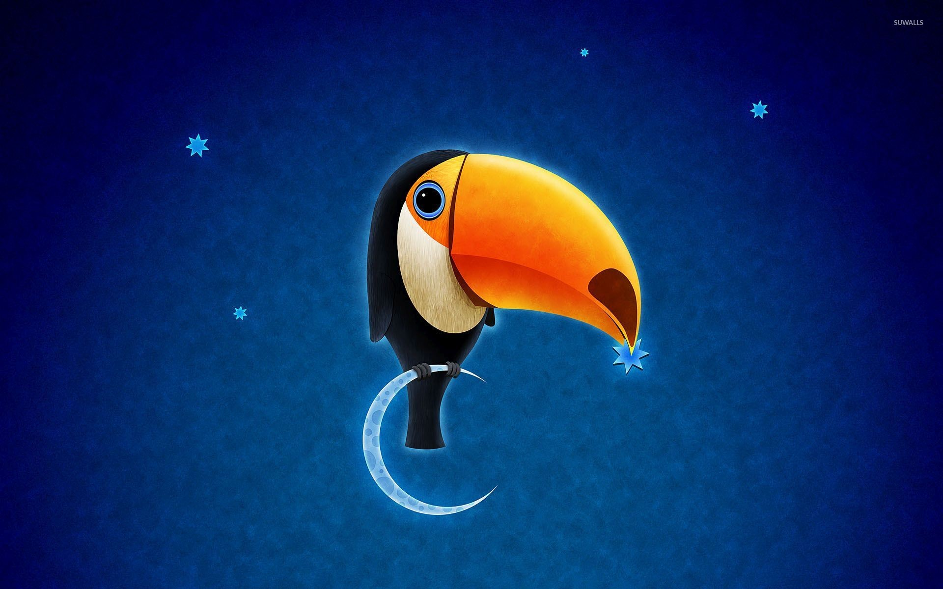 1920x1200 Toucan on the moon wallpaper