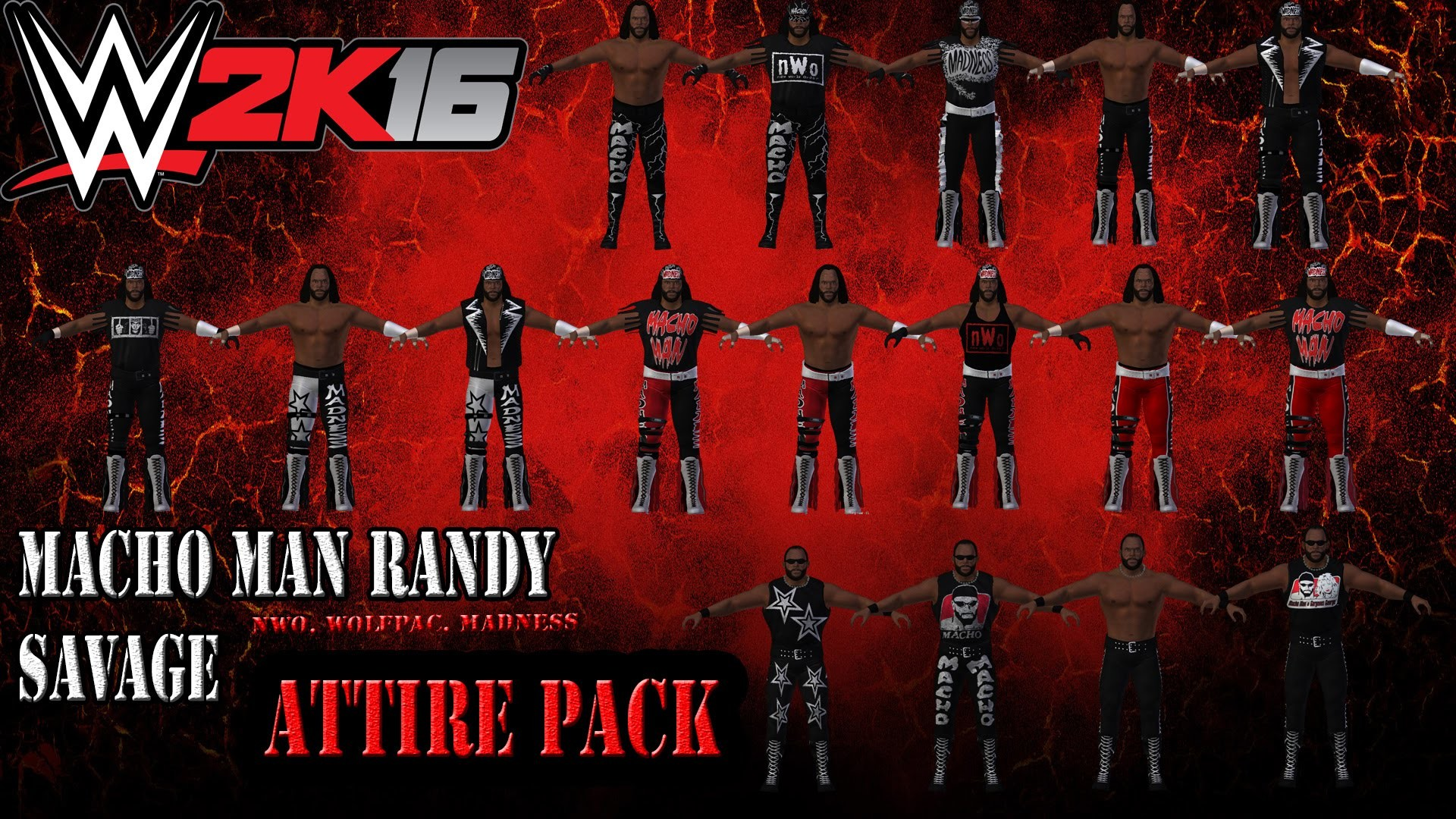 1920x1080 WWE 2K16 MODS: Macho Man Randy Savage - 15+ Attire Pack (WCW, NWO, Wolfpac)  - YouTube