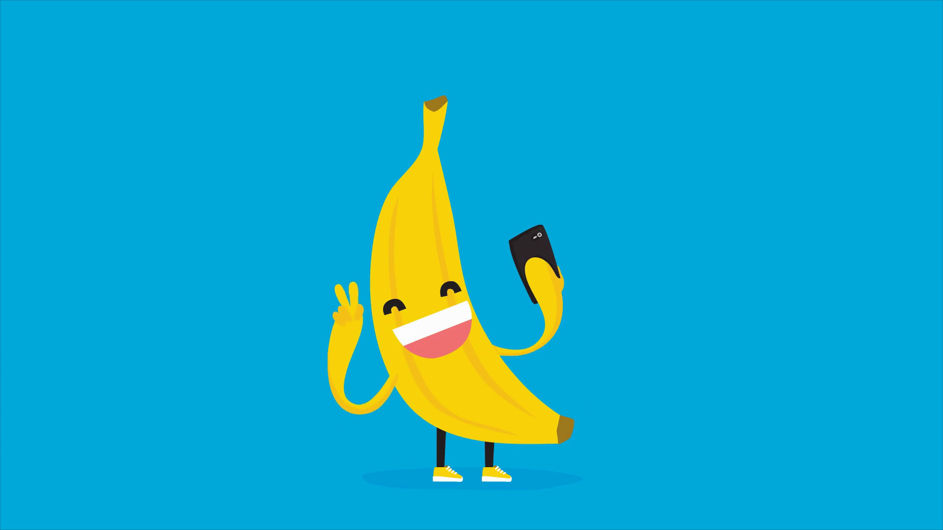 1920x1080 Cute kawaii banana taking selfie with mobile phone. HD cartoon animation on blue  background. Stock Video Footage - Storyblocks Video