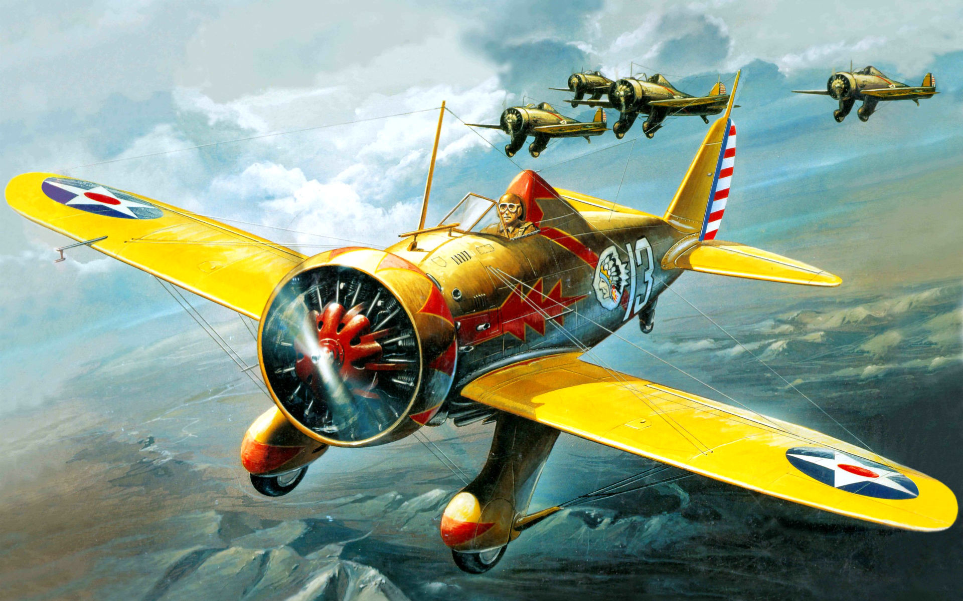 1920x1200 art airplane Boeing P-26A Peashooter military flight pilot cockpit sky  clouds landscapes wallpaper
