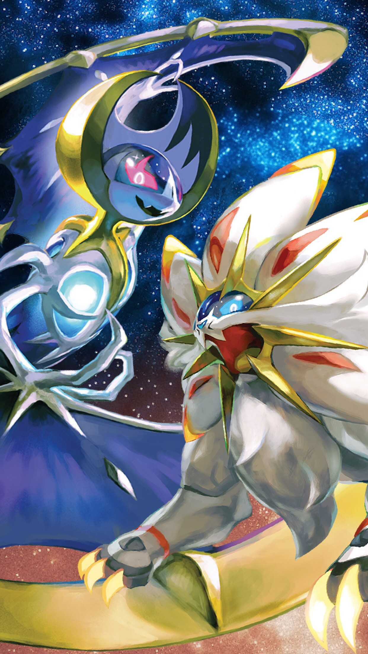 1242x2208 Solgaleo & Lunala Mobile Wallpaper (iPhone 6s Scale: 1242 x 2208 px)