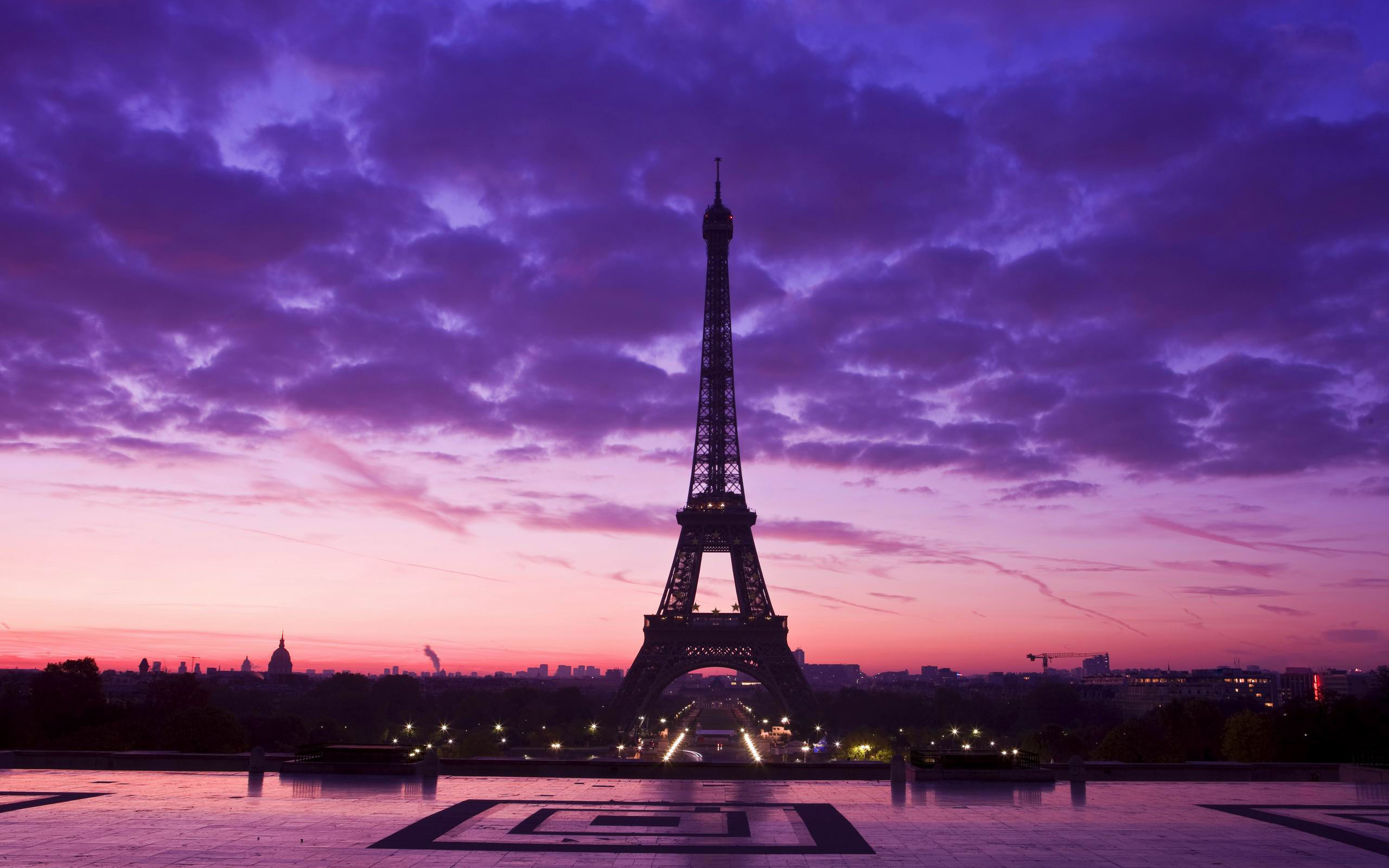 2560x1600 Holiday Beautiful Purple Sky In Above The Eiffel Tower Paris When Sunset  Moment HD Wallpaper Paris of Romantic Love City Wallpaper