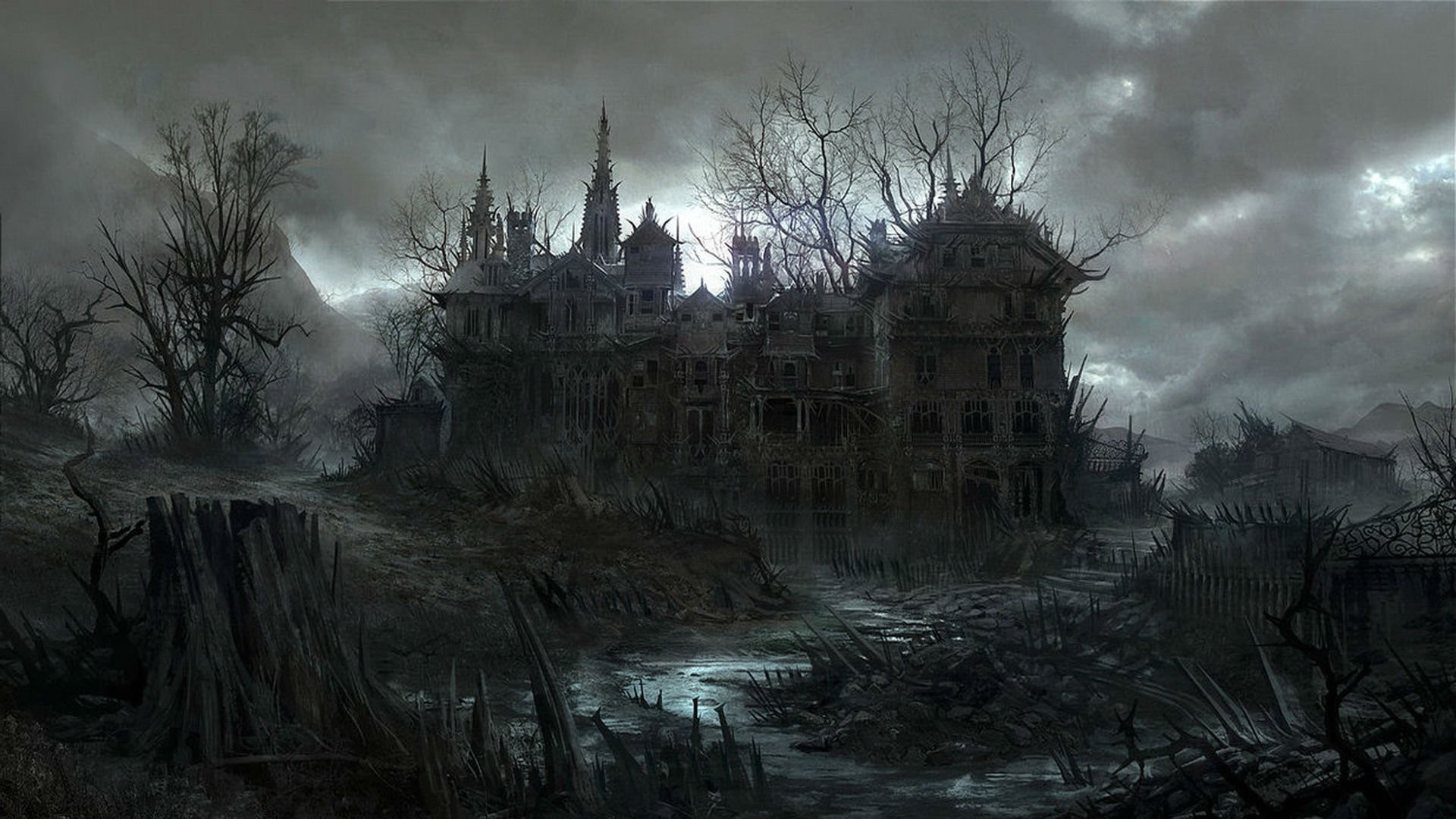 1920x1080 HALLOWEEN dark haunted house spooky wallpaper |  | 497956 .