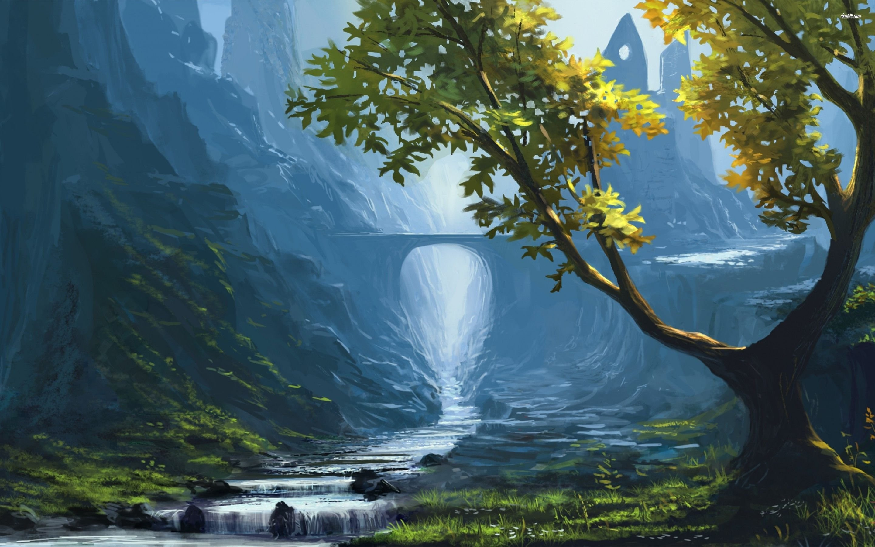 2880x1800 Painting Of A Mountain Stream Wallpaper