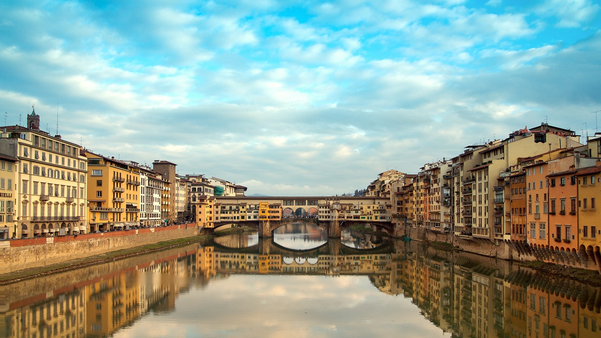 1920x1080 Full HD Wallpaper florence channel bridge reflection italy