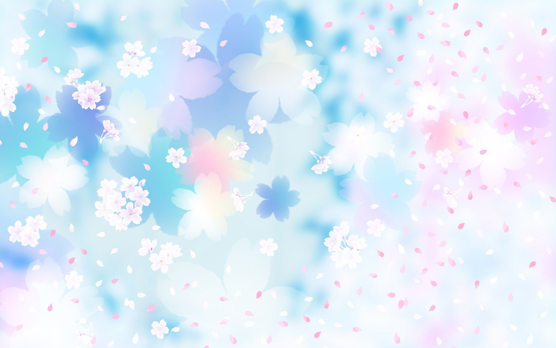 1920x1200 Flower Pattern Background, Blue and Pink Flowers, Flying Petals .