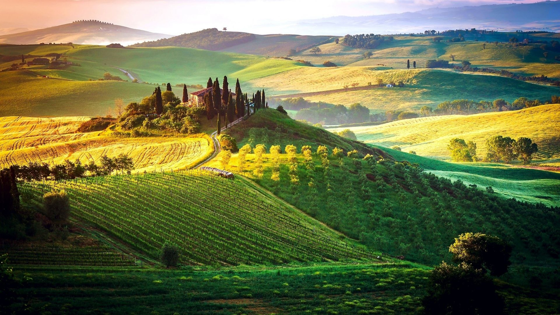 1920x1080 Tuscany Tag - Cloudy Fields Beautiful Italy Sky Toscany Tuscany Nature  Wallpapers Of Paddy for HD
