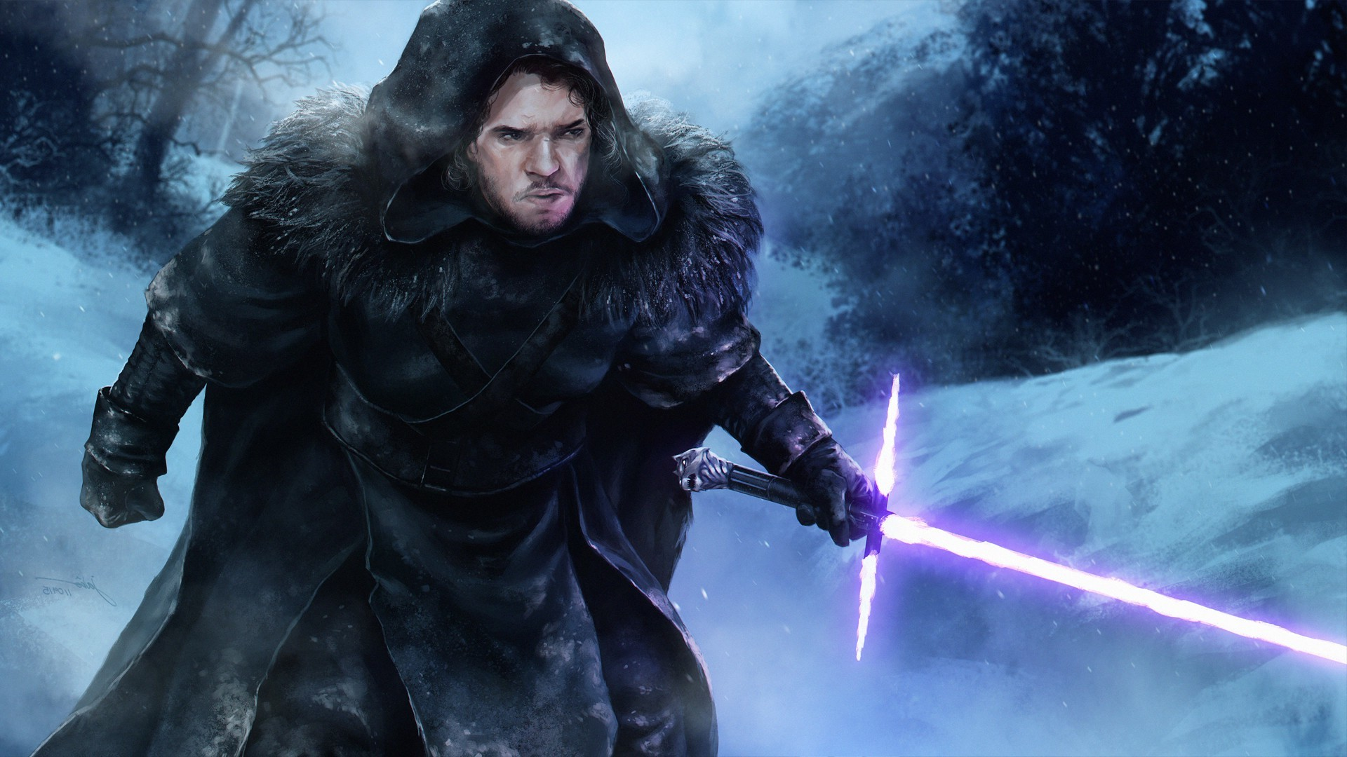 1920x1080 Star Wars, Game Of Thrones, Jon Snow, Artwork, Fantasy Art, Lightsaber Wallpapers  HD / Desktop and Mobile Backgrounds