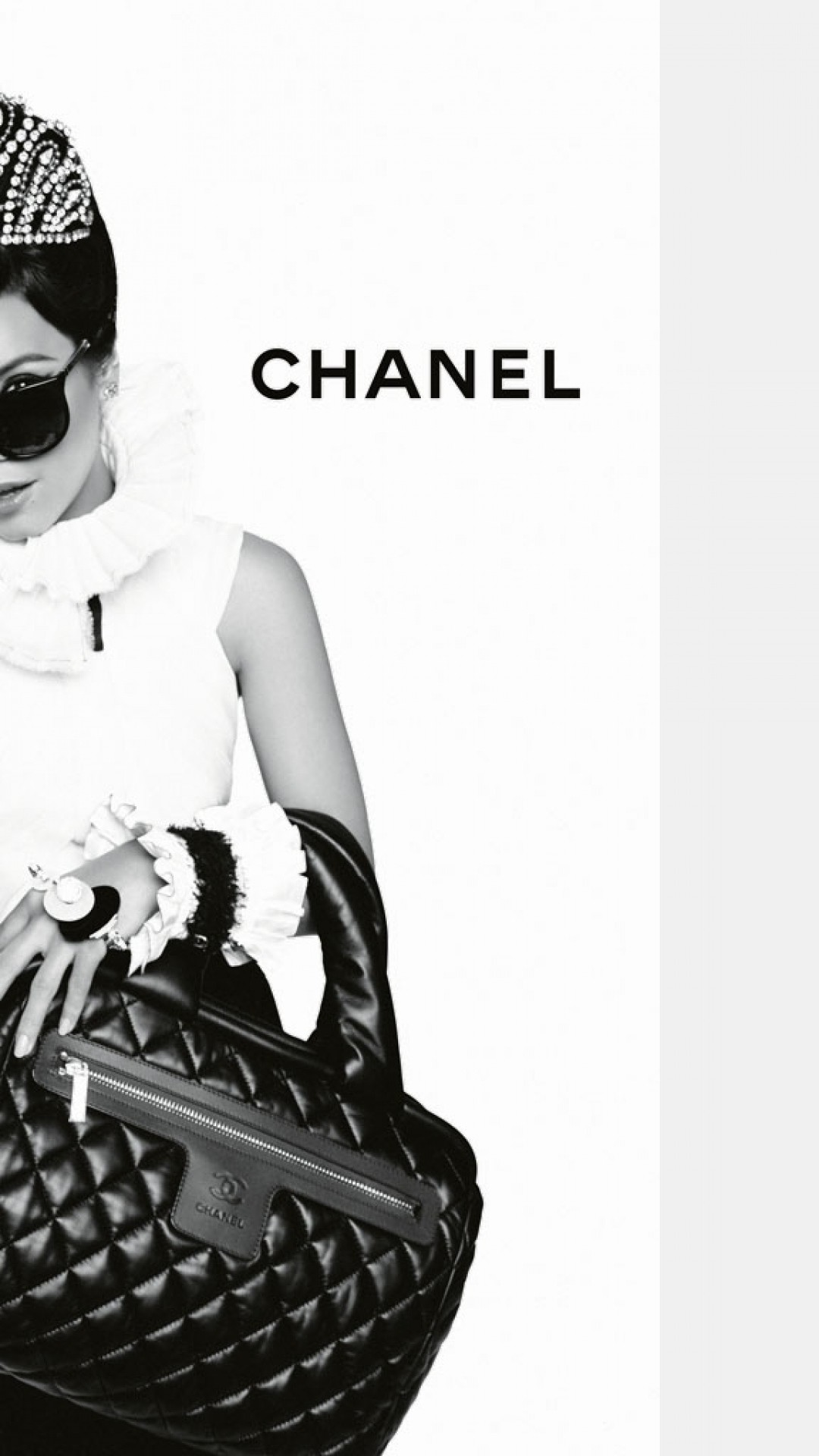 1080x1920 Preview wallpaper chanel, lily allen, girl, bag, sunglasses, high fashion