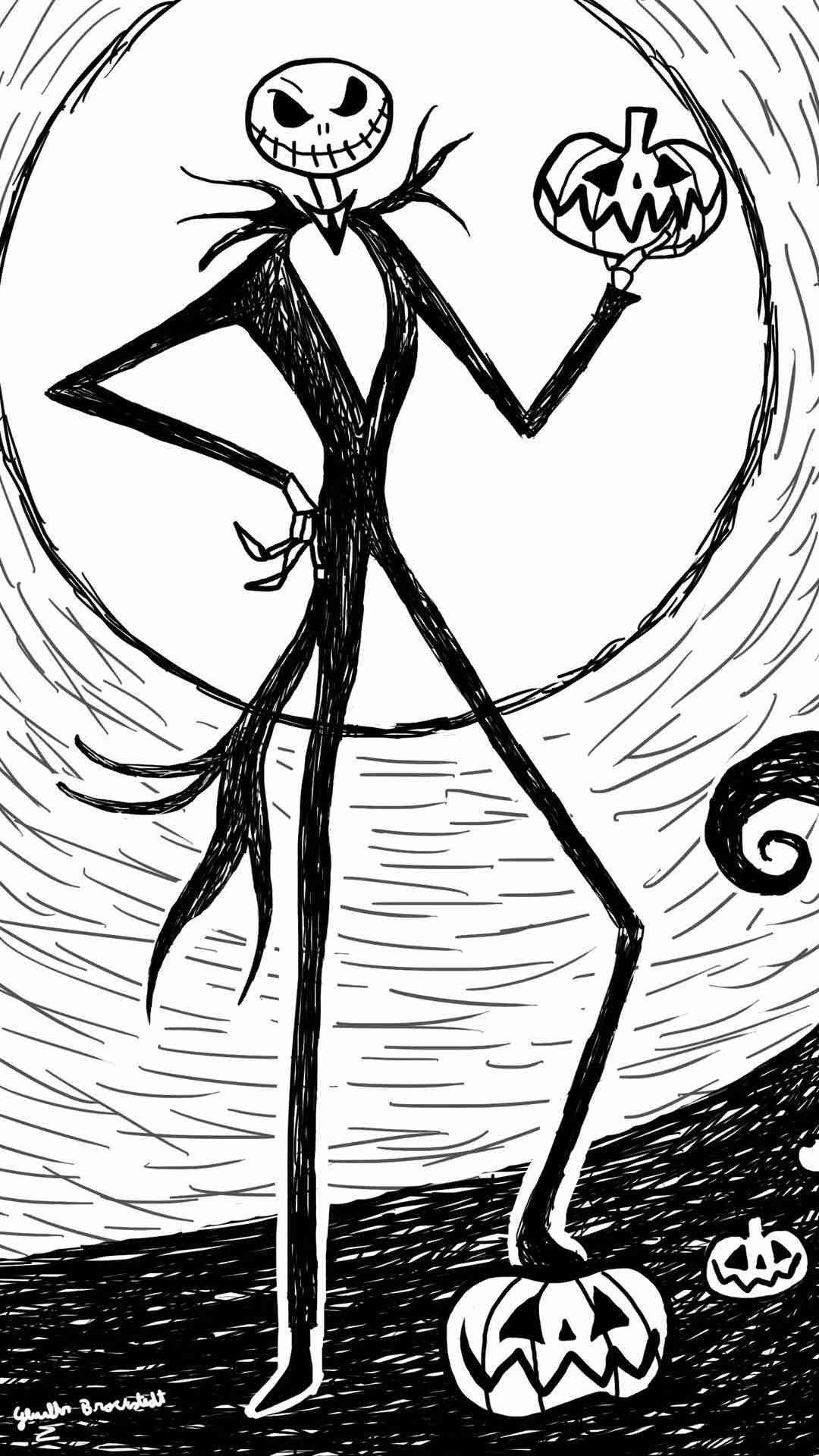1080x1920 Halloween Jack Skellington Easy Painting 2014 iPhone 6 plus Wallpaper - Nightmare  Before Christmas #2014