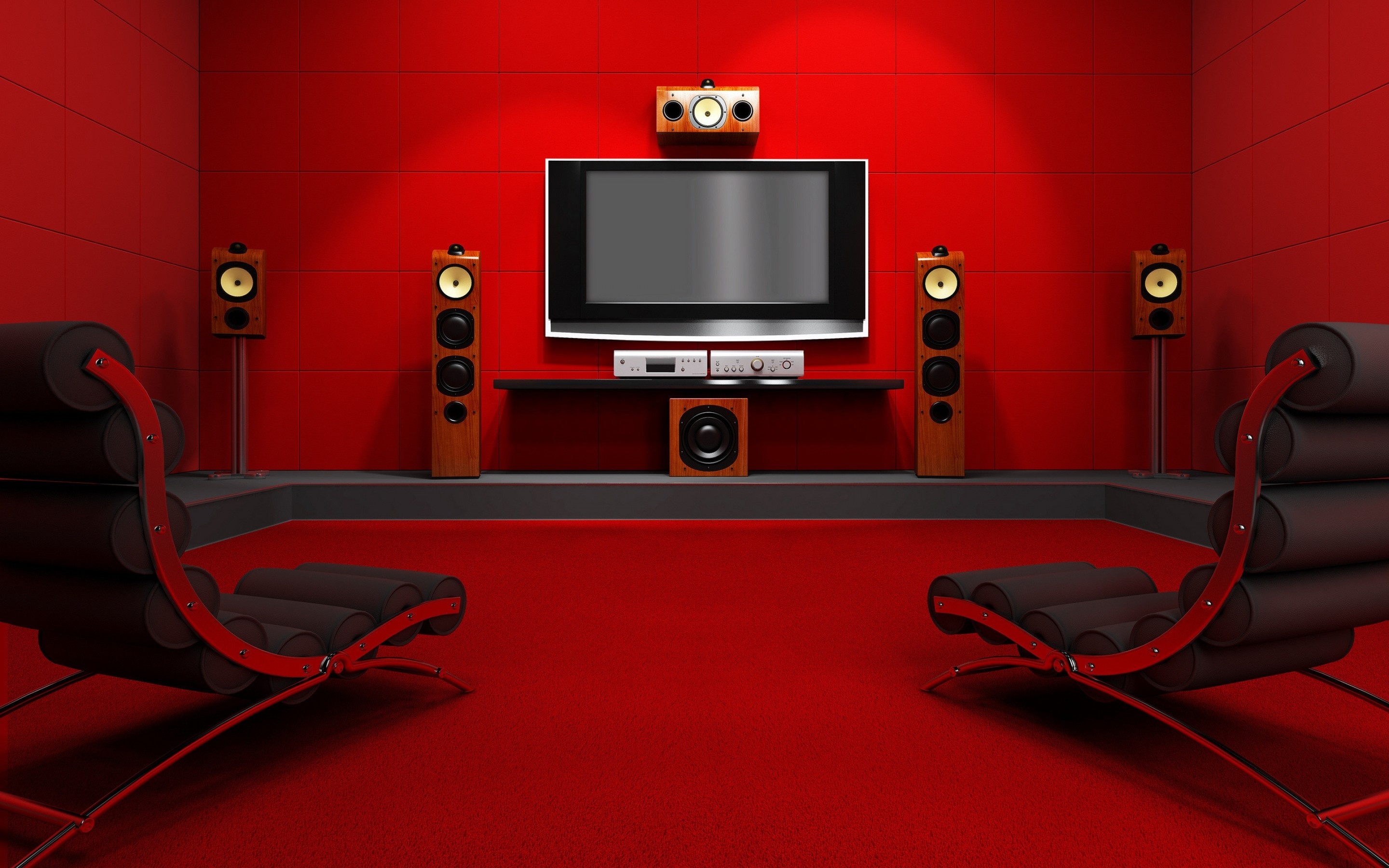 2880x1800 Red Room With Home Cinema Wallpaper At 3d Wallpapers
