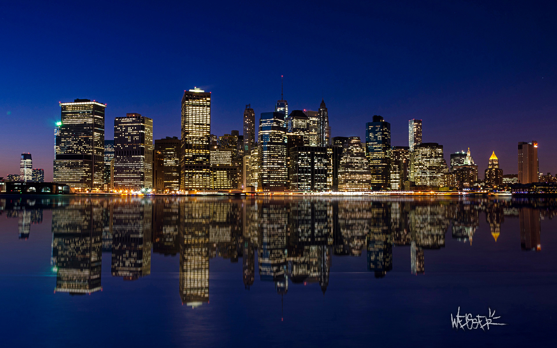 1920x1200 Manhattan Night Skyline