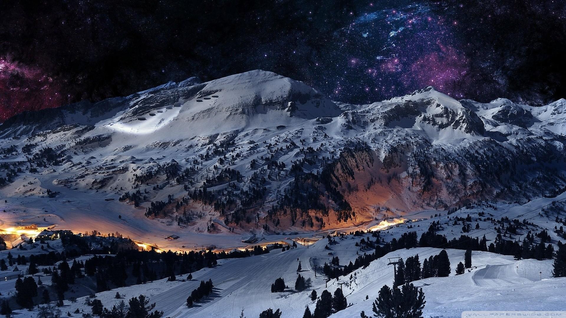 1920x1080 Desktop Wallpaper Snowy Night Scenes Snow Christmas