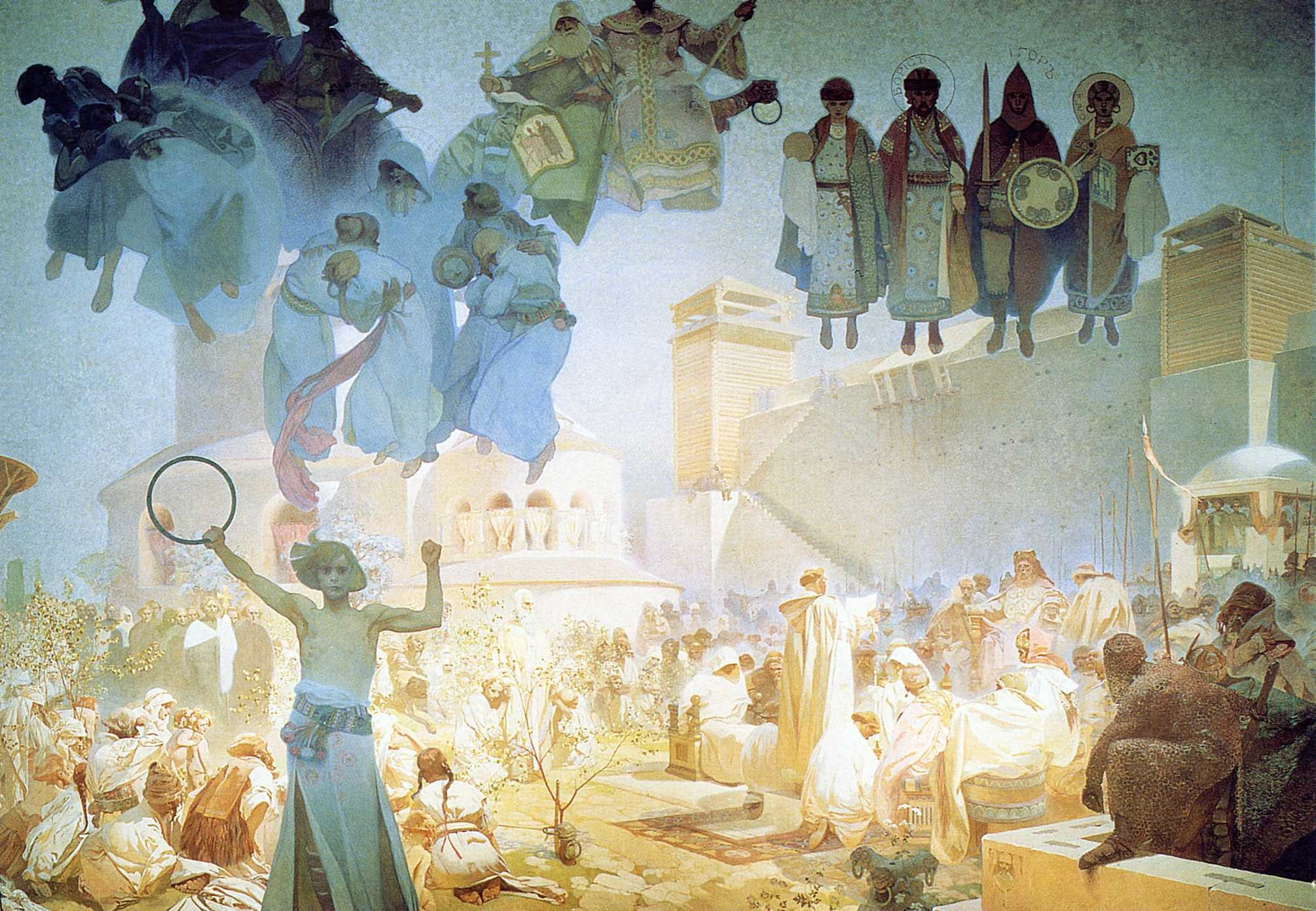 2010x1392 The Introduction of the Slavonic Liturgy, 1912 - Alphonse Mucha