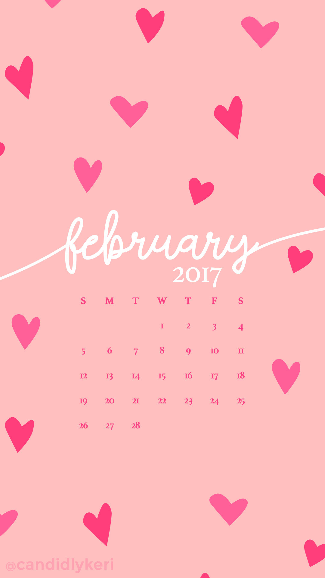1080x1920 Pink hearts February calendar 2017 wallpaper you can download for free on  the blog! For