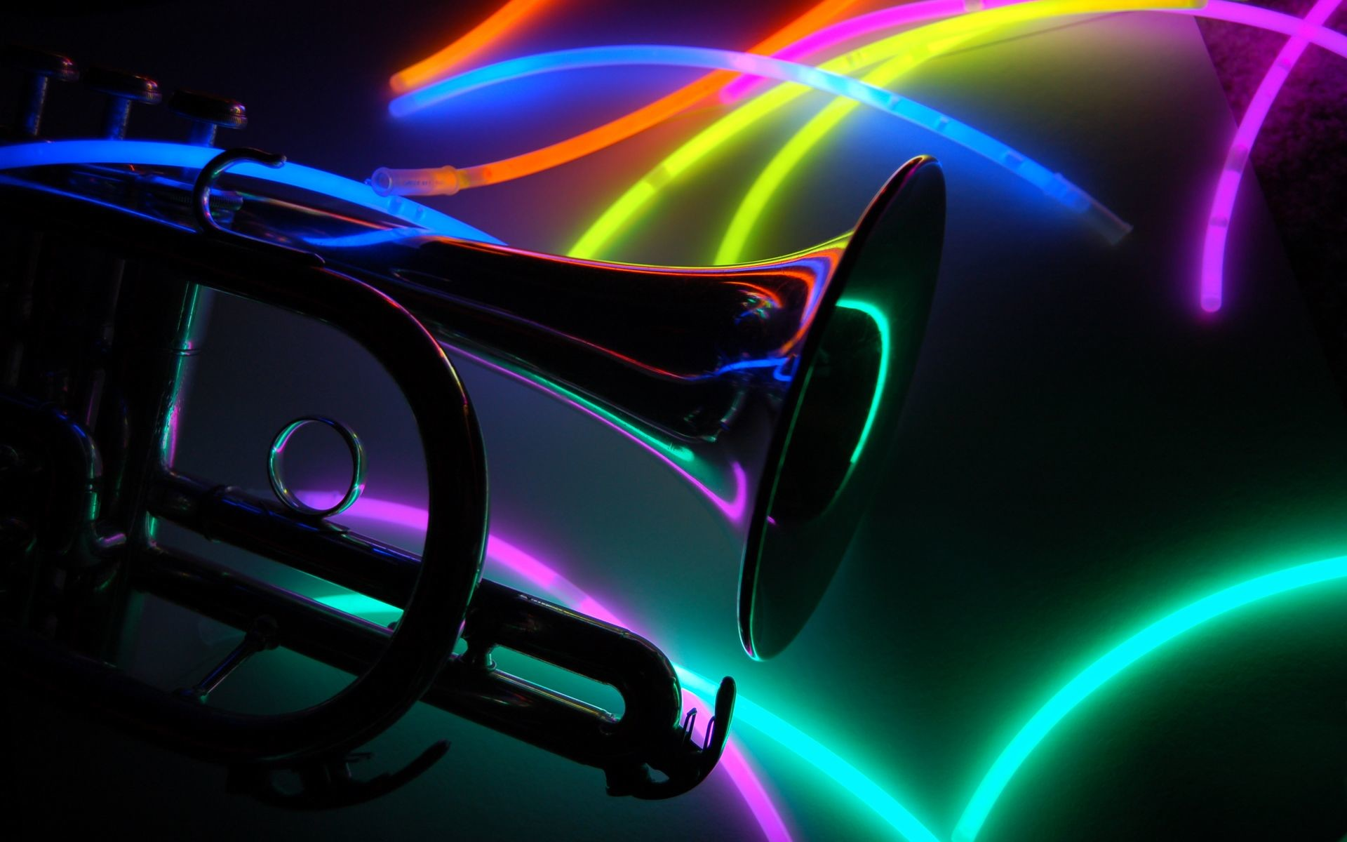 1920x1200 Neon Backgrounds | Trumpet Neon Colors Wallpaper Music Art - Free Download  Trumpet Neon .
