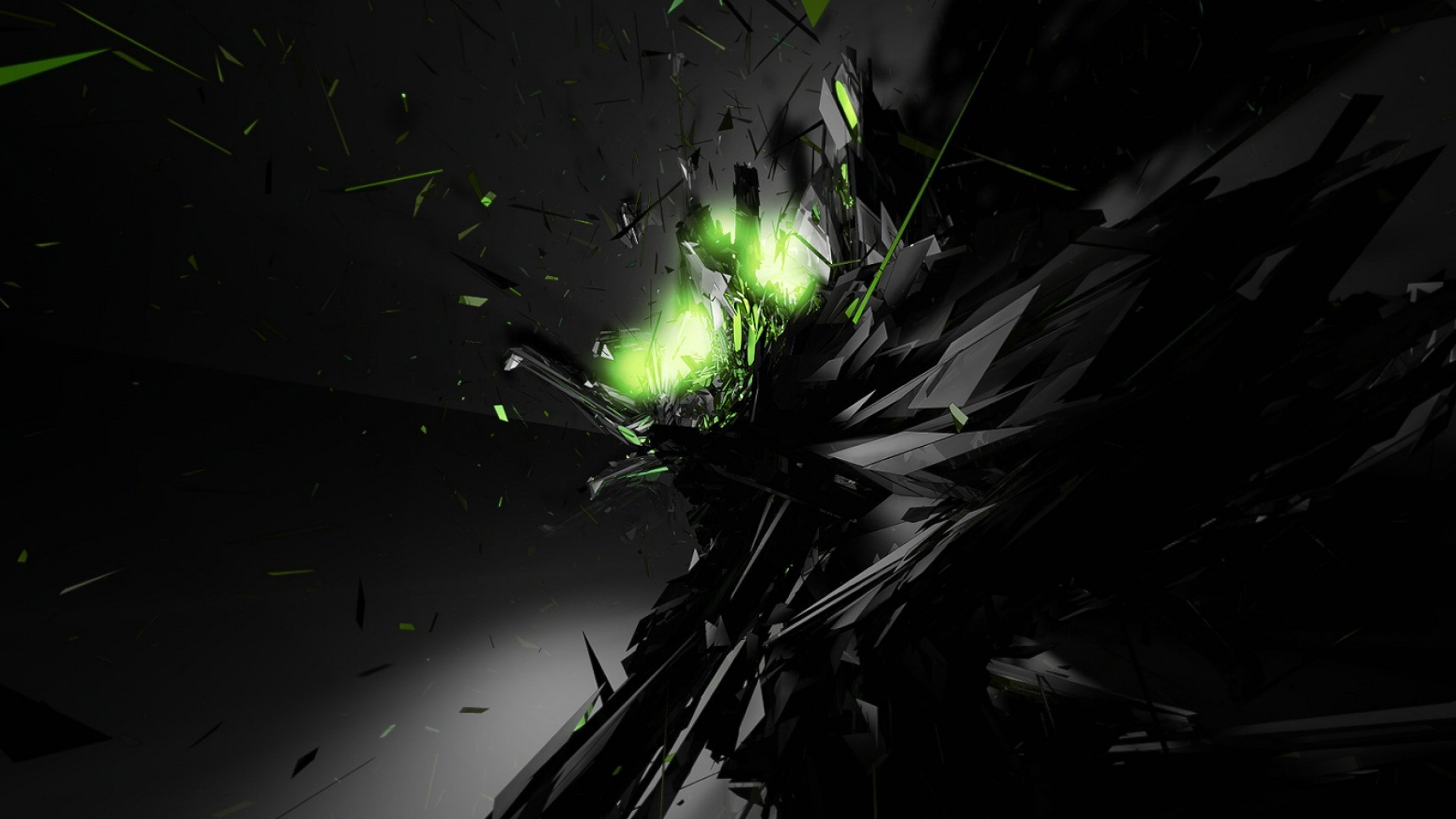 1920x1080 Black Abstract Green Glow Desktop Wallpaper