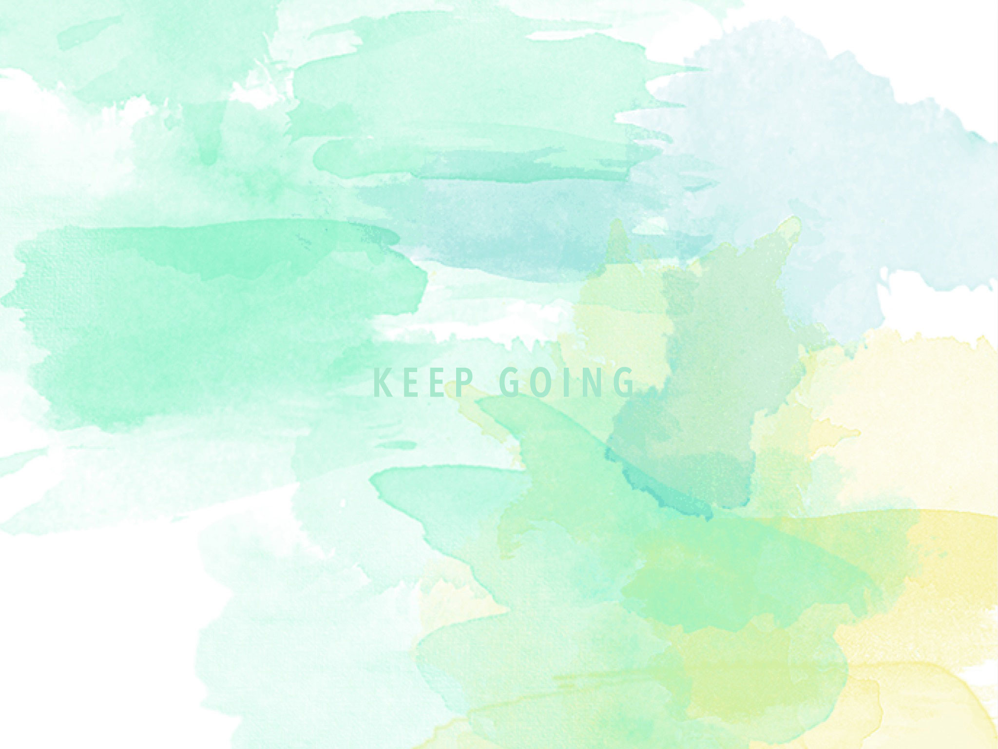 2048x1536 Mint aqua yellow watercolour Keep Going desktop wallpaper background