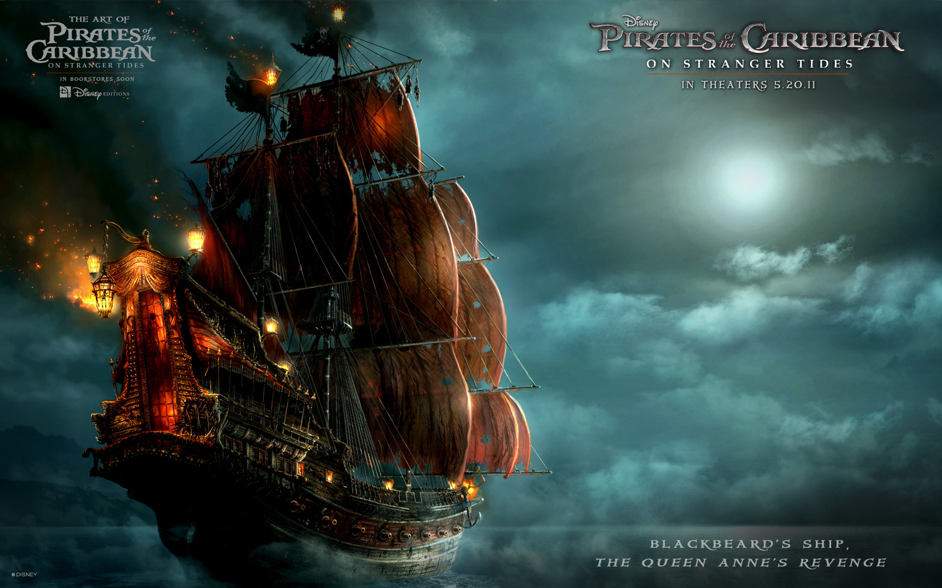 1920x1200 Blackbeards Ship Pirates Caribbean 4 Wallpaper