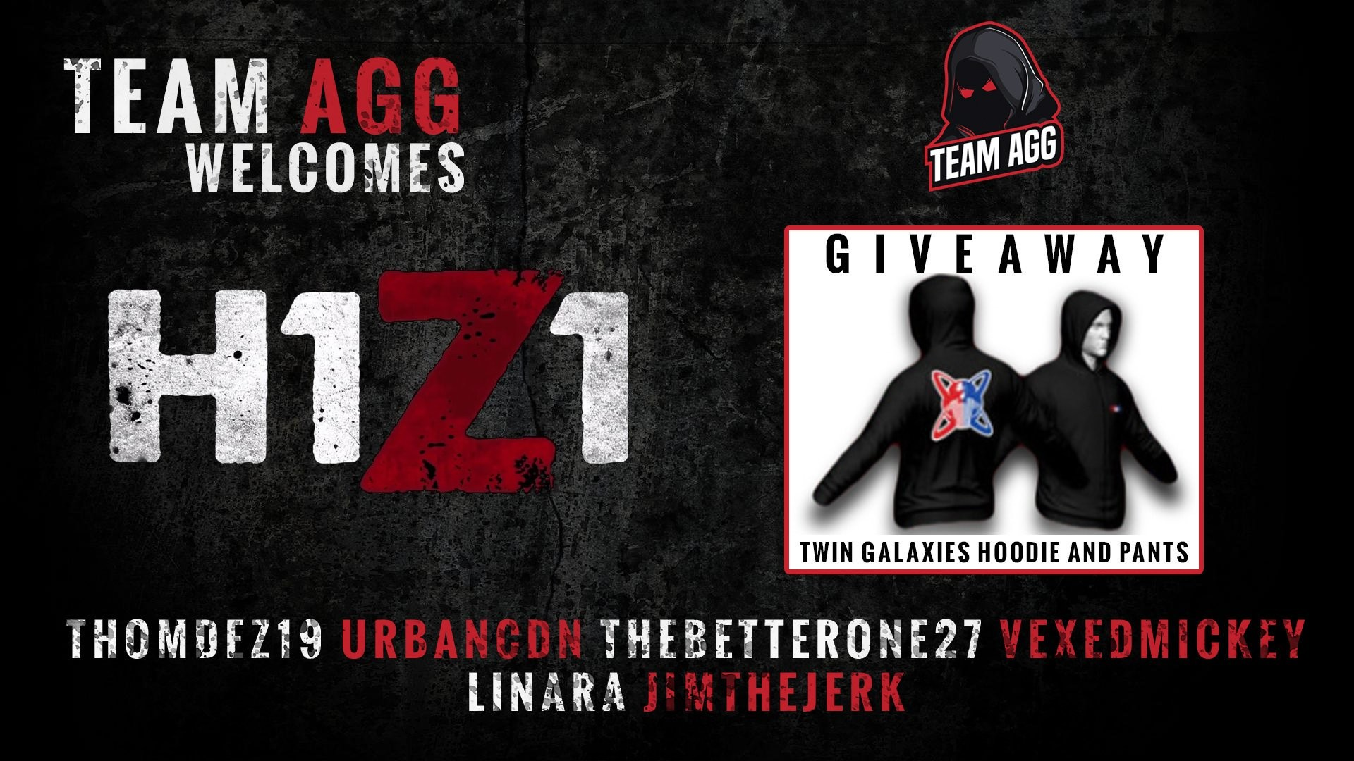 "1920x1080 Team AGG on Twitter: ""Hoodie And Pants @TwinGalaxies GIVEAWAY! Welcome our  new @H1Z1KotK roster! Enter Now At https://t.co/DNXD0X67ty ..."