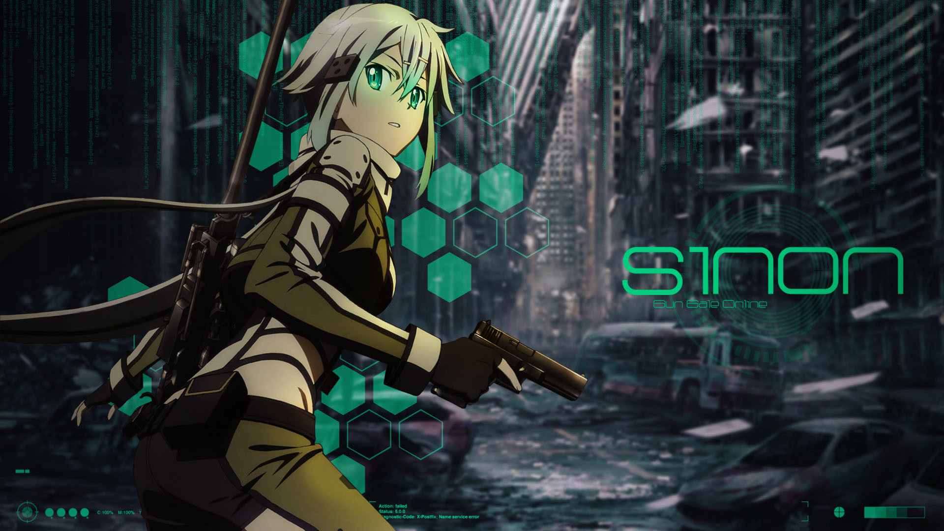 1920x1080 Amazing Sinon Asada on dark background Wallpaper Sinon with pistol