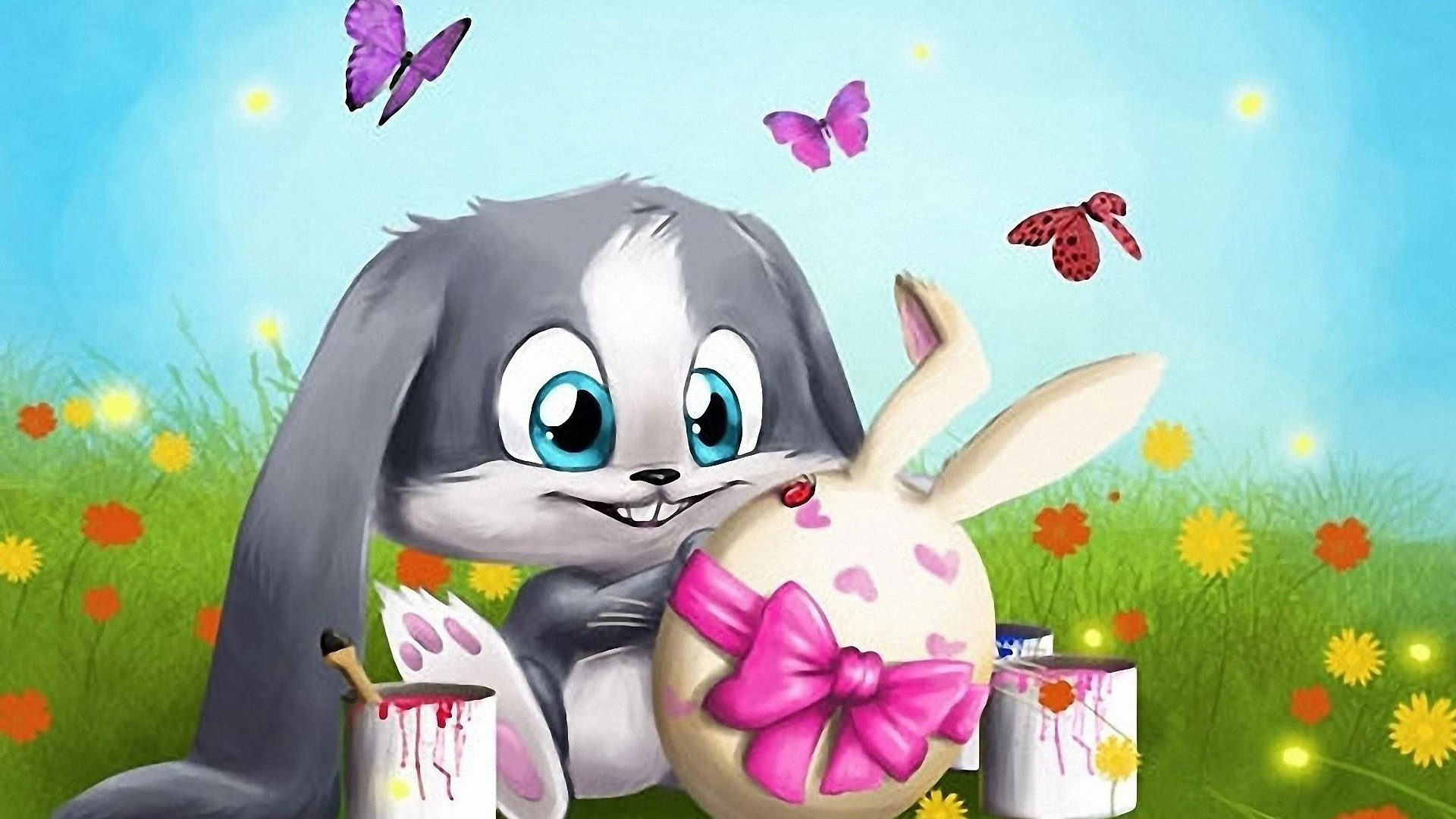 1920x1080 3D easter bunny wallpapers