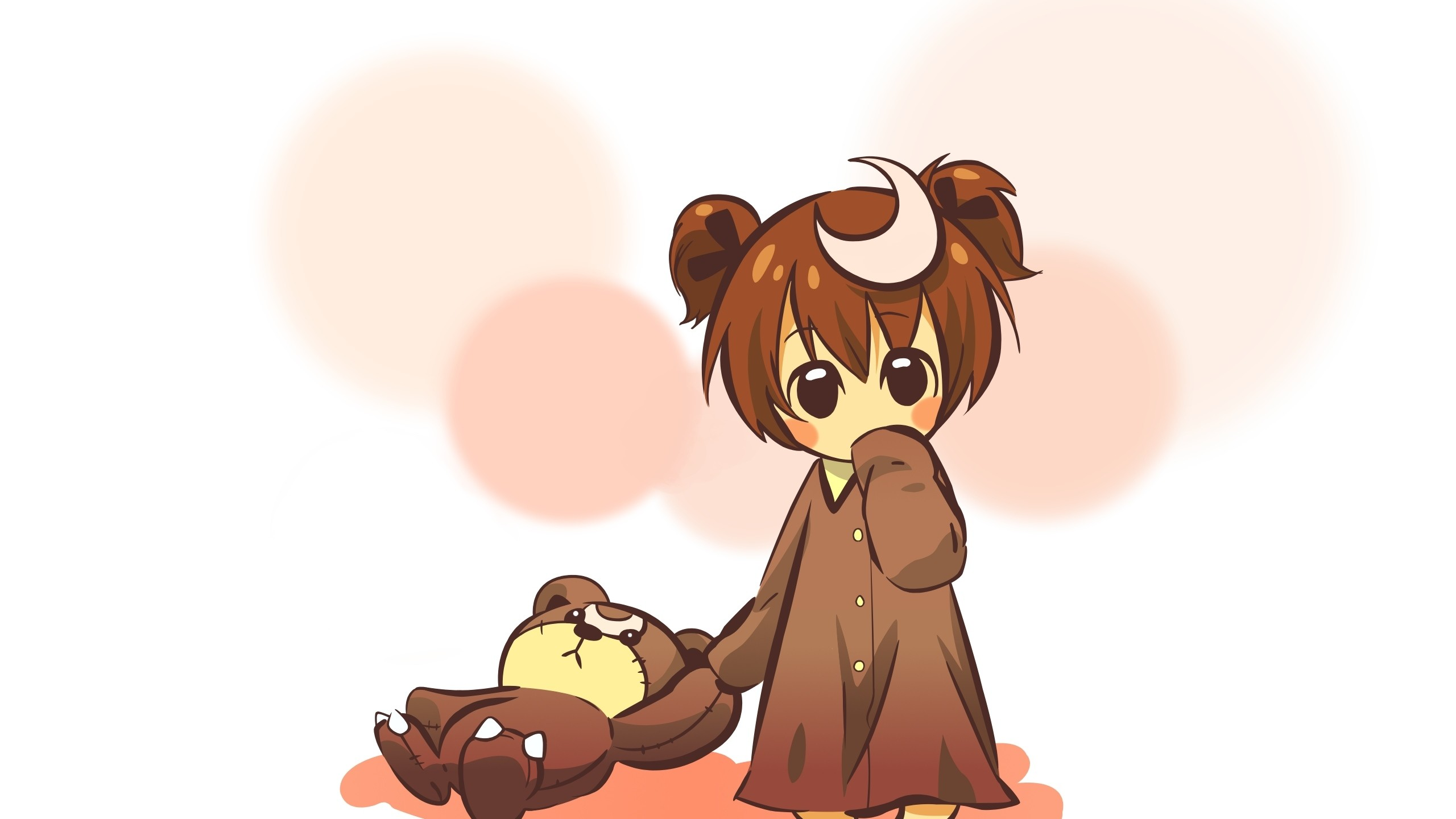 2560x1440  Wallpaper anime, girl, cute, toy, bear, background