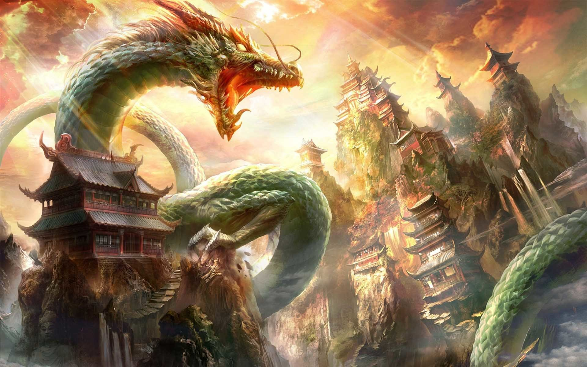 1920x1200 Tamples Chinese Dragon Wallpapers 3D
